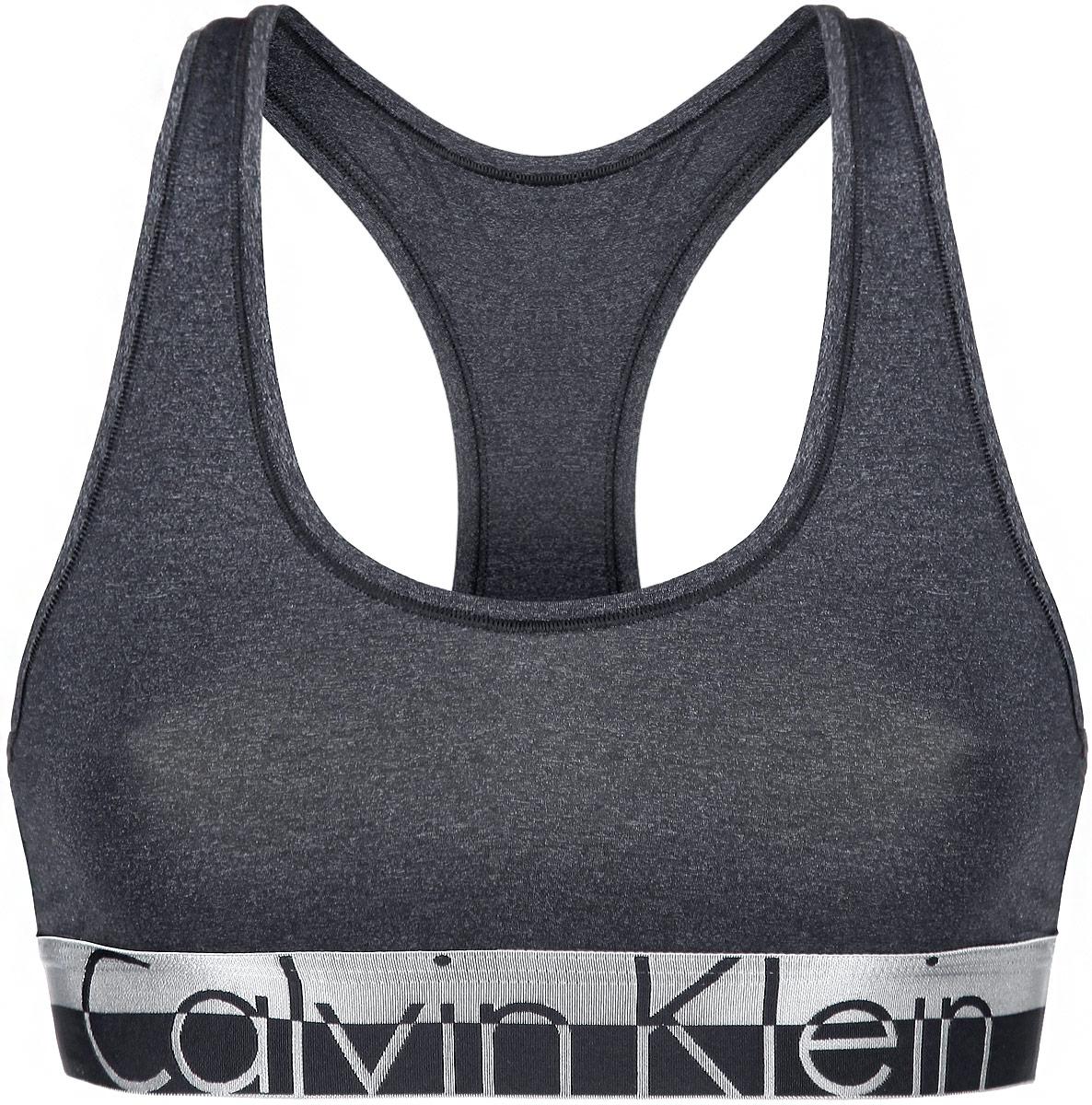 Топ-бра Calvin Klein Underwear, цвет: темно-серый. QF1335E. Размер S (42) футболка женская calvin klein underwear цвет черный qs5557e 001 размер s 42