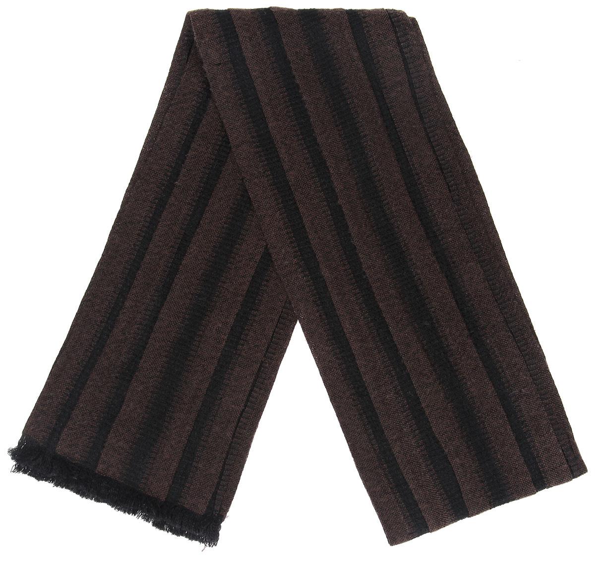 Шарф мужской Flioraj, цвет: темно-коричневый. 00050566. Размер 20 см х 180 см00050566Элегантный мужской шарф Flioraj согреет вас в холодное время года, а также станет изысканным аксессуаром, который призван подчеркнуть ваш стиль и индивидуальность. Теплый, мягкий, приятный на ощупь шарф не продувается и великолепно сохраняет тепло. Оригинальный и стильный шарф выполнен из высококачественной мериносовой шерсти с добавлением лайкры, оформлен узкими полосками и украшен тонкой бахромой по краям.Такой шарф станет превосходным дополнением к любому наряду, защитит вас от ветра и холода и позволит вам создать свой неповторимый стиль
