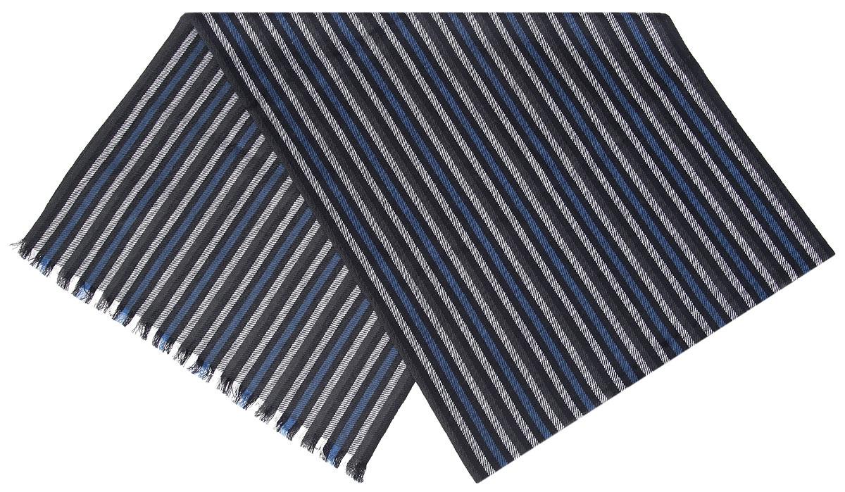 Шарф мужской Flioraj, цвет: серый, черный, синий. 00050560. Размер 40 см х 180 см00050560Элегантный мужской шарф Flioraj согреет вас в холодное время года, а также станет изысканным аксессуаром, который призван подчеркнуть ваш стиль и индивидуальность. Оригинальный шарф выполнен из высококачественной 100% мерсеризованной мериносовой шерсти, оформлен принтом в виде узких контрастных полосок и украшен тонкой бахромой по краям.Такой шарф станет превосходным дополнением к любому наряду, защитит вас от ветра и холода и позволит вам создать свой неповторимый стиль