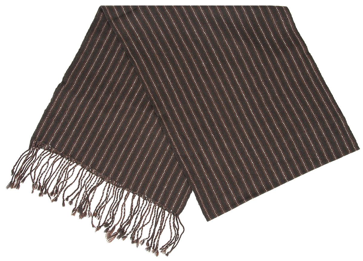 Шарф мужской Flioraj, цвет: темно-коричневый, коричневый. 00050542. Размер 30 см х 160 см00050542Элегантный мужской шарф Flioraj согреет вас в холодное время года, а также станет изысканным аксессуаром, который призван подчеркнуть ваш стиль и индивидуальность. Оригинальный и стильный шарф выполнен из высококачественной 100% мериносовой шерсти, оформлен узкими контрастными полосками и украшен жгутиками бахромой по краям.Такой шарф станет превосходным дополнением к любому наряду, защитит вас от ветра и холода и позволит вам создать свой неповторимый стиль