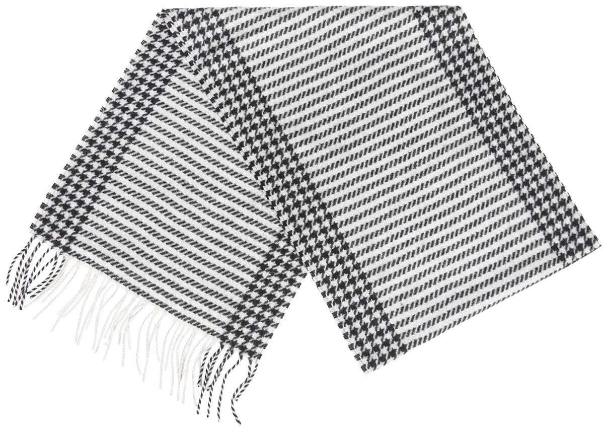 Шарф мужской Flioraj, цвет: черный, серо-бежевый. 00050536. Размер 30 см х 160 см00050536Элегантный мужской шарф Flioraj согреет вас в холодное время года, а также станет изысканным аксессуаром, который призван подчеркнуть ваш стиль и индивидуальность. Теплый, мягкий, приятный на ощупь шарф не продувается и великолепно сохраняет тепло.Оригинальный и стильный шарф выполнен из высококачественной 100% мериносовой шерсти, оформлен мелкой контрастной клеткой и полосками, и украшен бахромой в виде жгутиков по краям.Такой шарф станет превосходным дополнением к любому наряду, защитит вас от ветра и холода и позволит вам создать свой неповторимый стиль