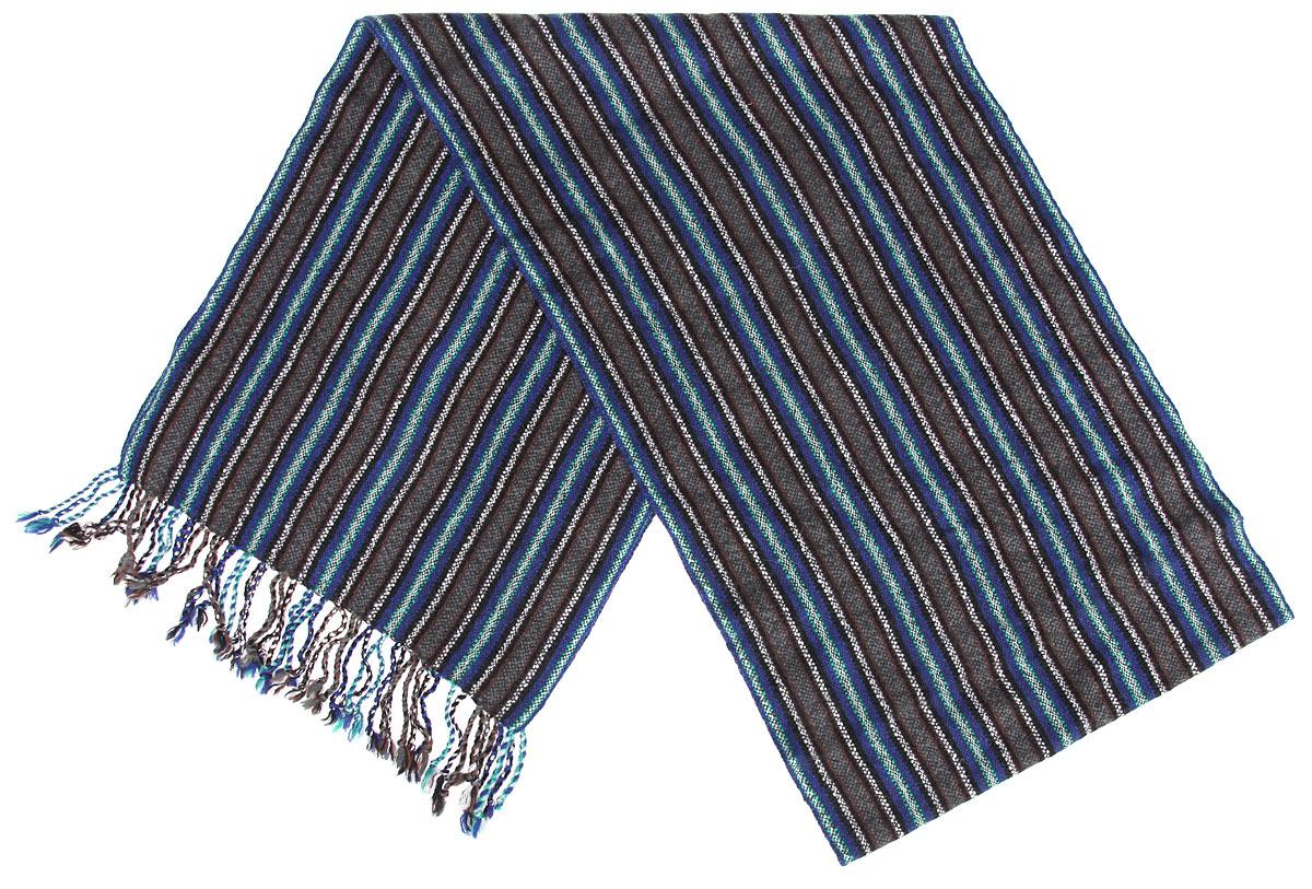 Шарф мужской Flioraj, цвет: серый, синий, белый. 00050544. Размер 30 см х 160 см00050544Элегантный мужской шарф Flioraj согреет вас в холодное время года, а также станет изысканным аксессуаром, который призван подчеркнуть ваш стиль и индивидуальность. Оригинальный и стильный шарф выполнен из высококачественной 100% мерсеризованной шерсти, оформлен узкими контрастными полосками и украшен жгутиками бахромой по краям.Такой шарф станет превосходным дополнением к любому наряду, защитит вас от ветра и холода и позволит вам создать свой неповторимый стиль