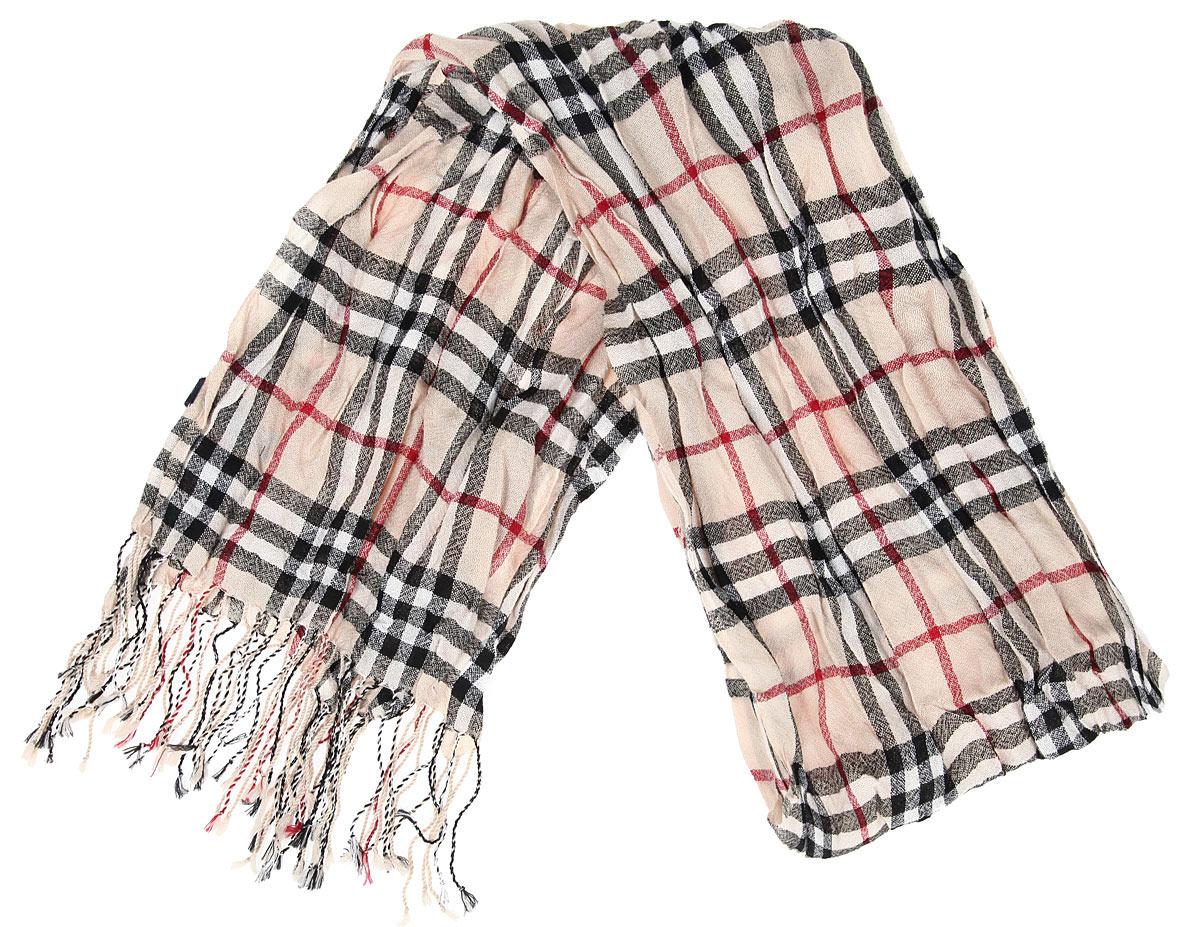Шарф мужской Flioraj, цвет: бежевый, черный, бордовый. 40-16 РS. Размер 40 см х 180 см40-16 РSЭлегантный легкий мужской шарф Flioraj согреет вас в холодное время года, а также станет изысканным аксессуаром, который призван подчеркнуть ваш стиль и индивидуальность. Оригинальный тонкий шарф выполнен из высококачественной 100% мерсеризованной мериносовой шерсти, оформлен принтом в крупную клетку и украшен бахромой в виде жгутиков по краям.Такой шарф станет превосходным дополнением к любому наряду, защитит вас от ветра и холода и позволит вам создать свой неповторимый стиль