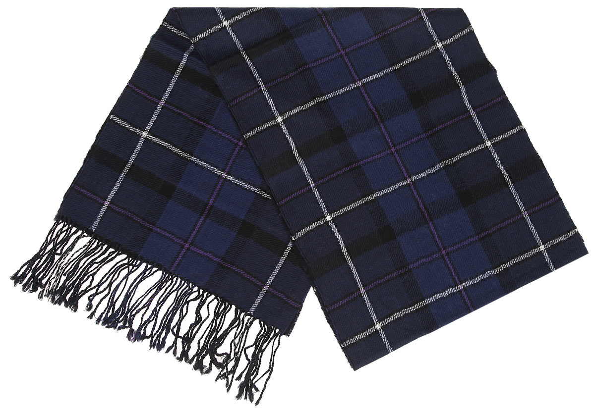 Шарф мужской Flioraj, цвет: темно-синий, белый. 30-3 РS. Размер 30 см х 160 см30-3 РSЭлегантный мужской шарф Flioraj согреет вас в холодное время года, а также станет изысканным аксессуаром, который призван подчеркнуть ваш стиль и индивидуальность. Теплый, мягкий, приятный на ощупь шарф не продувается и великолепно сохраняет тепло. Оригинальный и стильный шарф выполнен из высококачественной 100% мериносовой шерсти, оформлен принтомв крупную клетку и украшен бахромой в виде жгутиков по краям.Такой шарф станет превосходным дополнением к любому наряду, защитит вас от ветра и холода и позволит вам создать свой неповторимый стиль