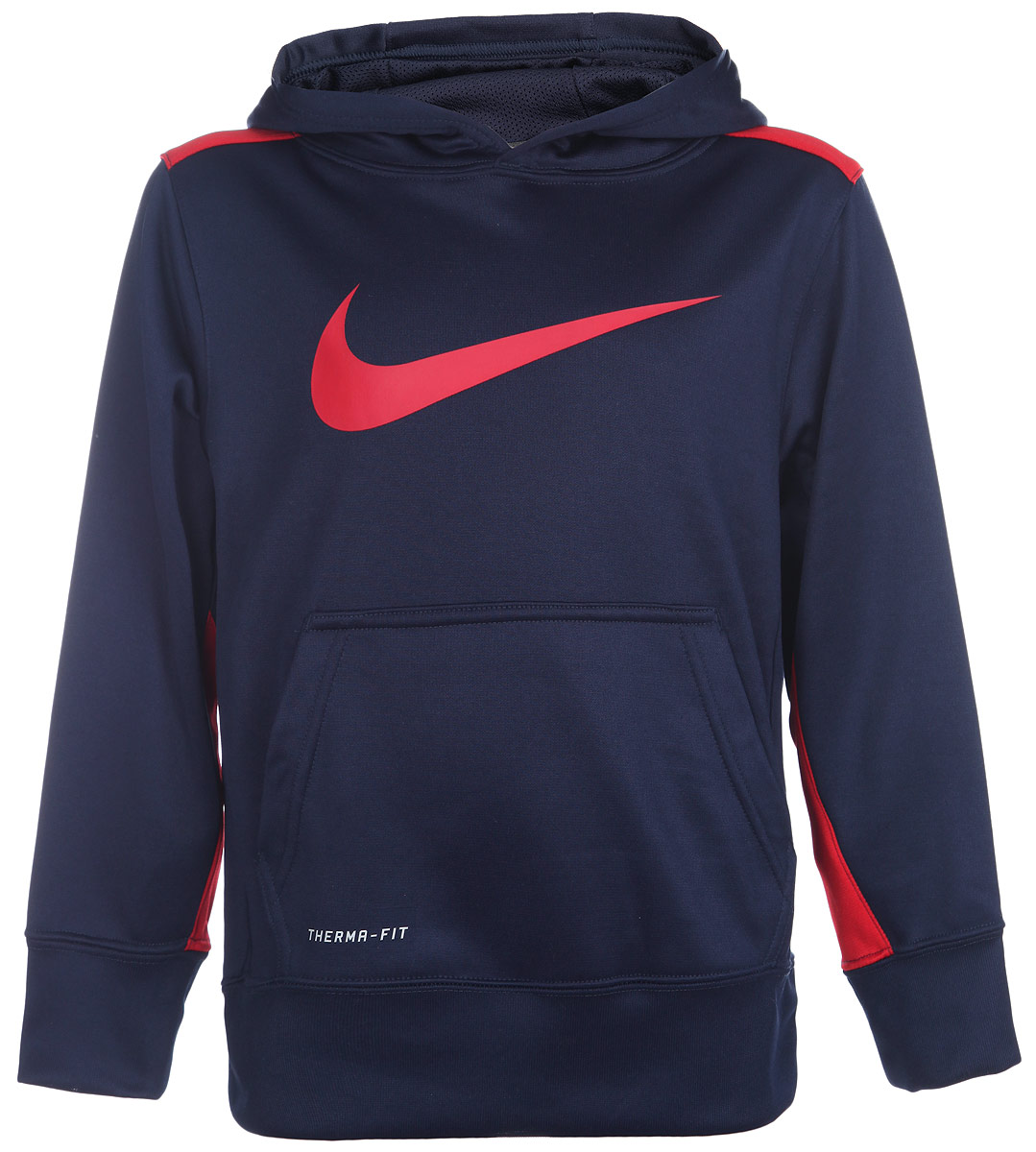 Толстовка для мальчика Nike KO 3.0 OTH, цвет: темно-синий, красный. 716859-452. Размер L (152/164)716859-452Стильная толстовка для мальчика KO 3.0 OTH идеально подойдет вашему маленькому непоседе для занятий спортом. Изготовлена из ткани Therma-FIT, которая отлично сохраняет тепло, и снабжена большим капюшоном с подкладкой из сетки для защиты и вентиляции. Лицевая сторона гладкая, а изнаночная - с мягким теплым начесом. Рукава дополнены широкими трикотажными манжетами, не стягивающими запястья. Понизу также проходит широкая трикотажная резинка. Спереди толстовка дополнена вместительным карманом кенгуру и принтом с логотипом Nike. Одноигольная строчка создает минималистичный образ. Оригинальный современный дизайн делает эту толстовку модным и стильным предметом детского гардероба. В ней ваш малыш будет чувствовать себя уютно и комфортно, и всегда будет в центре внимания!