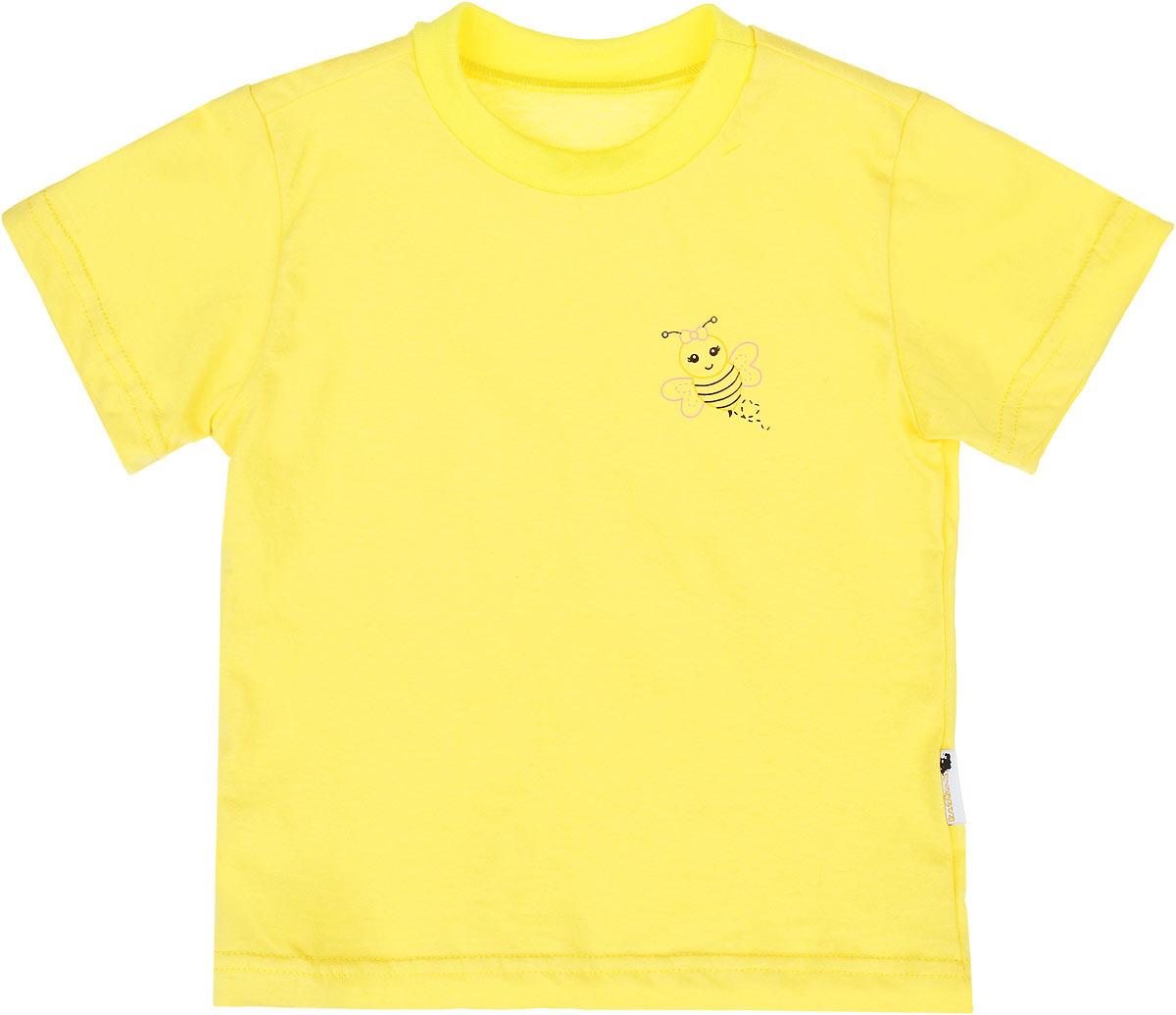 Футболка детская Клякса, цвет: желтый. 10-718. Размер 2610-718Детская футболка Клякса идеально подойдет вашему ребенку. Изготовленная из натурального хлопка, она необычайно мягкая и приятная на ощупь, не сковывает движения ребенка и позволяет коже дышать, не раздражает даже самую нежную и чувствительную кожу, обеспечивая наибольший комфорт. Футболка с круглым вырезом горловины и короткими рукавами оформлена на груди небольшим принтом с изображением пчелки. Вырез горловины дополнен эластичной трикотажной резинкой.