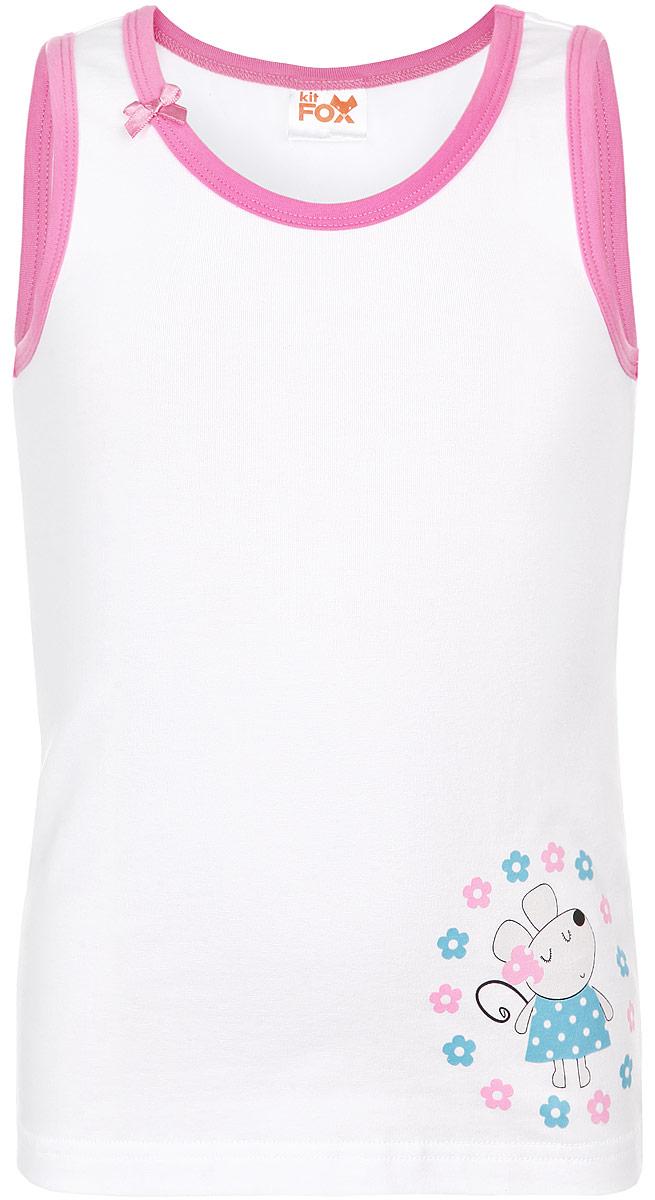 Майка для девочки KitFox, цвет: белый, розовый, голубой. AW15-UAT-GTP-164. Размер 104/110AW15-UAT-GTP-164Майка для девочки KitFox идеально подойдет вашему ребенку. Изготовленная из хлопка с добавлением эластана, она необычайно мягкая и приятная на ощупь, не сковывает движения и позволяет коже дышать, не раздражает нежную и чувствительную кожу ребенка, обеспечивая наибольший комфорт. Майка на широких бретелях с квадратным вырезом горловины спереди оформлена изображением милой мышки с цветами вокруг. Край горловины украшает небольшой атласный бант.Современный дизайн и актуальная расцветка делают эту майку модным и стильным предметом детского гардероба. В ней ваша принцесса будет чувствовать себя уютно и комфортно, и всегда будет в центре внимания!