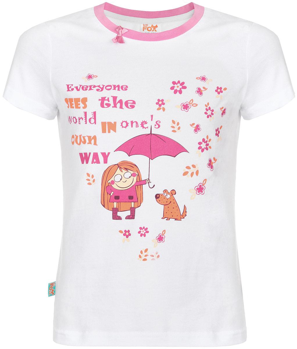 Футболка для девочки KitFox Love Is, цвет: белый, розовый, оранжевый. AW15-UAT-GTS-165. Размер 92/98AW15-UAT-GTS-165Футболка для девочки KitFox из коллекции Love Is идеально подойдет вашей маленькой принцессе. Изготовленная из эластичного хлопка, она мягкая и приятная на ощупь, не сковывает движения и позволяет коже дышать, не раздражает нежную кожу ребенка, обеспечивая ему наибольший комфорт. Футболка с круглым вырезом горловины и короткими рукавами оформлена оригинальным принтом с надписью. Вырез горловины дополнен трикотажной резинкой контрастного цвета, украшен небольшим атласным бантиком. Такая футболка станет отличным дополнением к детскому гардеробу, в ней ребенку будет комфортно и удобно.
