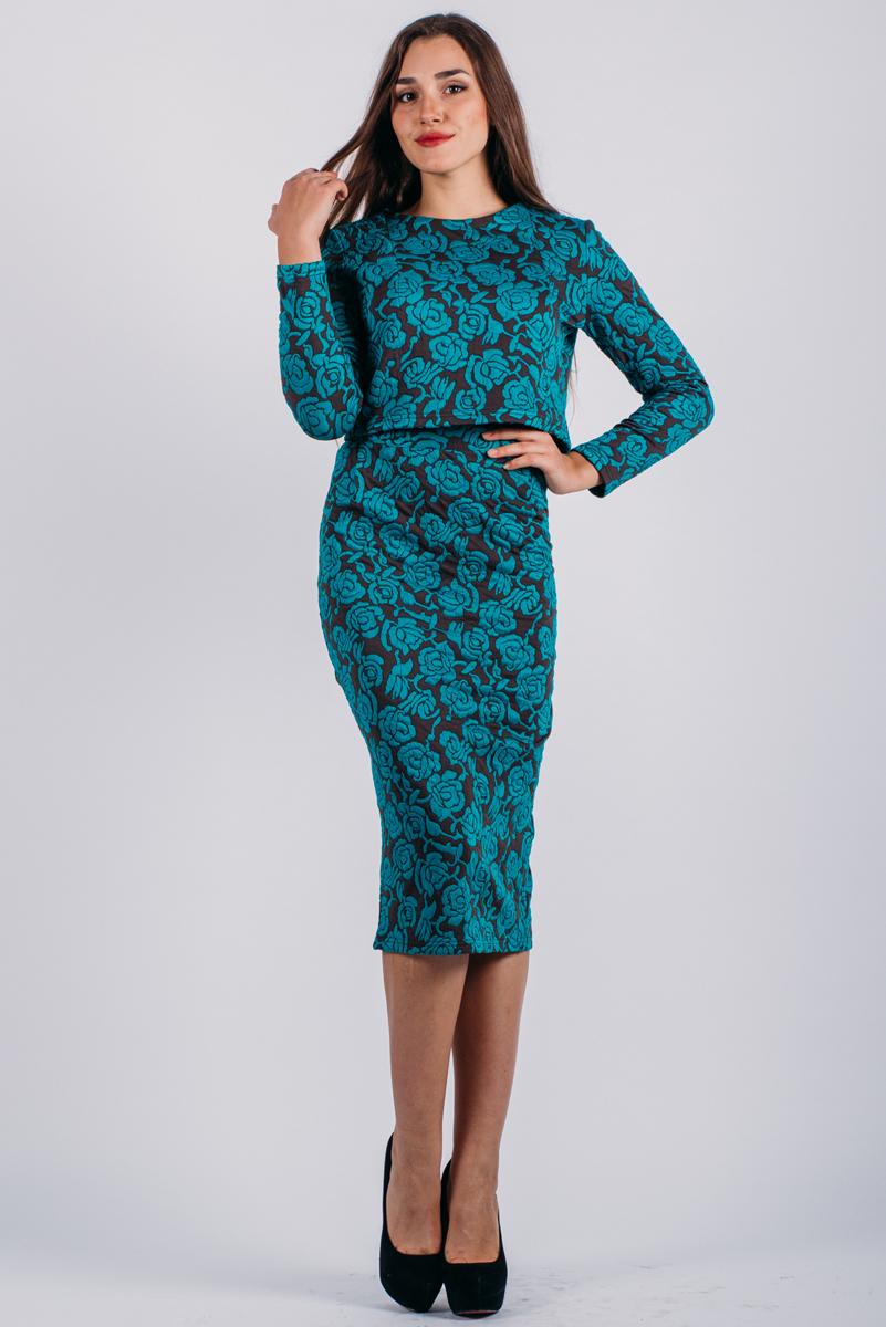 Комплект женский Lautus: жакет, юбка, цвет: изумрудный, коричневый. к507. Размер 48к507Стильный женский комплект Lautus, состоящий из жакета и юбки, станет отличным дополнением к вашему гардеробу. Элегантный жакет с круглым вырезом горловины и длинными рукавами застегивается по спинке на крупные декоративные пуговицы. Облегающая юбка-карандаш, дополненная вырезом, отлично подчеркнет достоинства вашей фигуры. Юбка застегивается сзади на потайную застежку-молнию и на пуговицу.В таком наряде вы, безусловно, привлечете восхищенные взгляды окружающих.