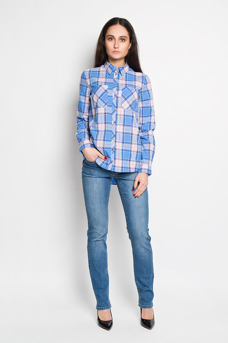 Рубашка женская Sela, цвет: голубой, оранжевый. B-312/113-6122. Размер S (44)B-312/113-6122Стильная женская рубашка Sela, выполненная из 100% хлопка, подчеркнет ваш уникальный стиль и поможет создать оригинальный женственный образ.Рубашка с длинными рукавами и отложным воротником застегивается на пуговицы спереди. Модель украшена принтом в клетку и дополнена двумя накладными нагрудными карманами. Манжеты рукавов также застегиваются на пуговицы. Такая рубашка будет дарить вам комфорт в течение всего дня и послужит замечательным дополнением к вашему гардеробу.