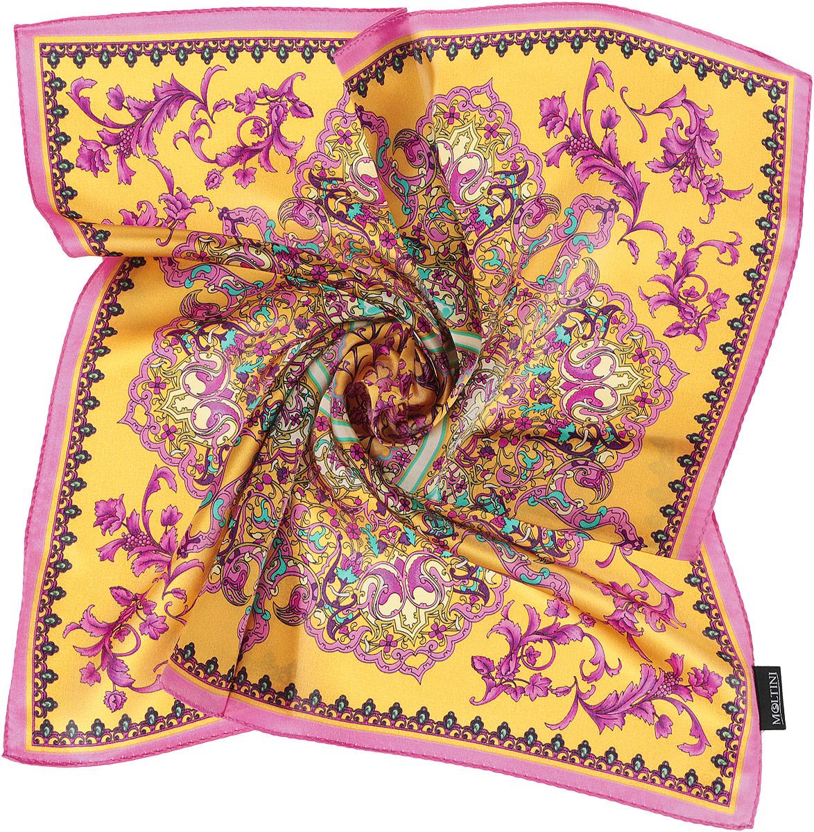 Платок женский Moltini, цвет: желтый, лиловый. 216119-1V. Размер 55 см х 55 см216119-1VИзумительный женский платок Moltini хочется носить бесконечно, что вполне реально благодаря высокому качеству. Данный аксессуар может стать изюминкой практически любого наряда. Модель изготовлена из шелка, благодаря чему полотно тонкое и легкое. Платок оформлен потрясающими узором и цветовой гаммой.Платок Moltini станет вашим верным спутником, а окружающие обязательно будут обращать свое восторженное внимание на вас.