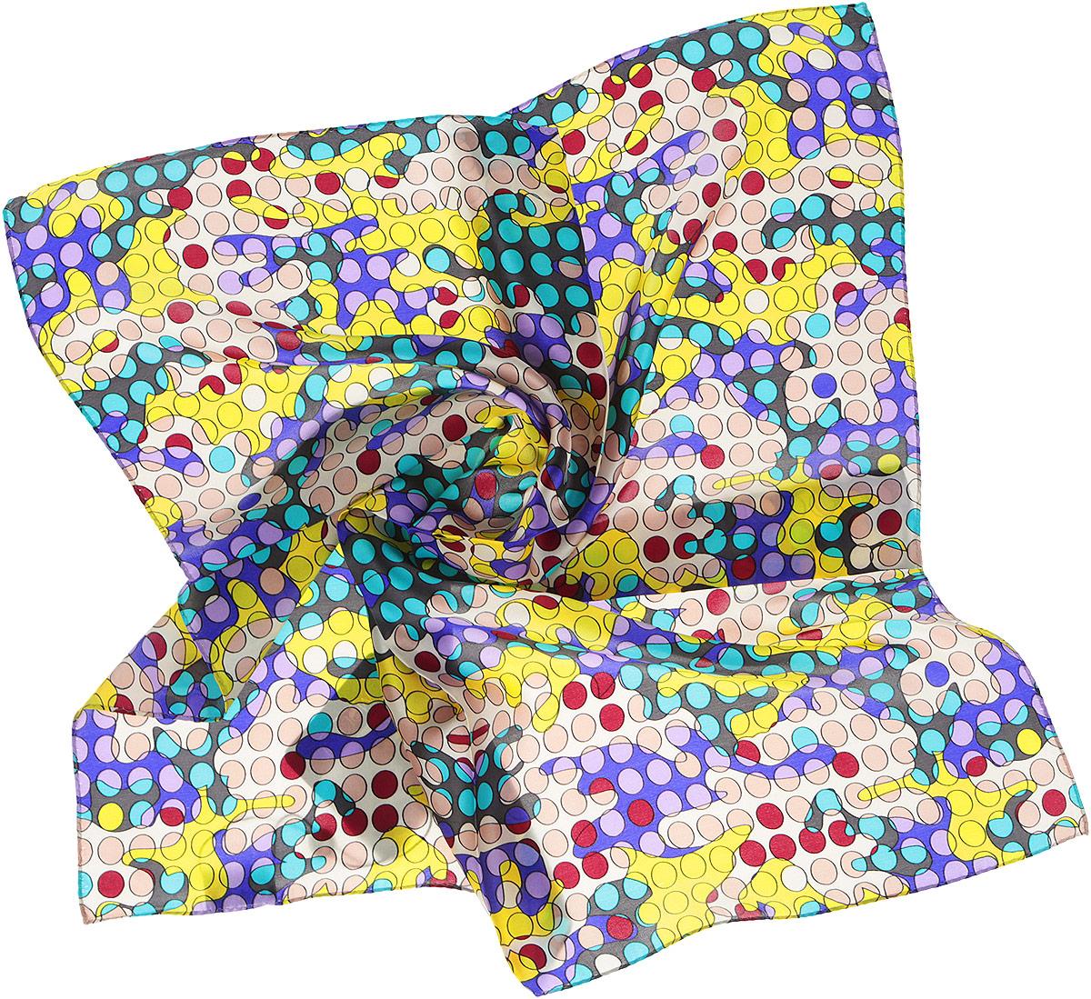 Платок женский Moltini, цвет: фиолетовый, желтый, бежевый. 216116-1L. Размер 55 см х 55 см216116-1LПлаток Moltini станет изысканным аксессуаром, который призван подчеркнуть индивидуальность и очарование женщины. Платок выполнен из 100% шелка и оформлен абстрактным принтом.Этот модный аксессуар женского гардероба гармонично дополнит образ современной женщины, следящей за своим имиджем и стремящейся всегда оставаться стильной и элегантной.