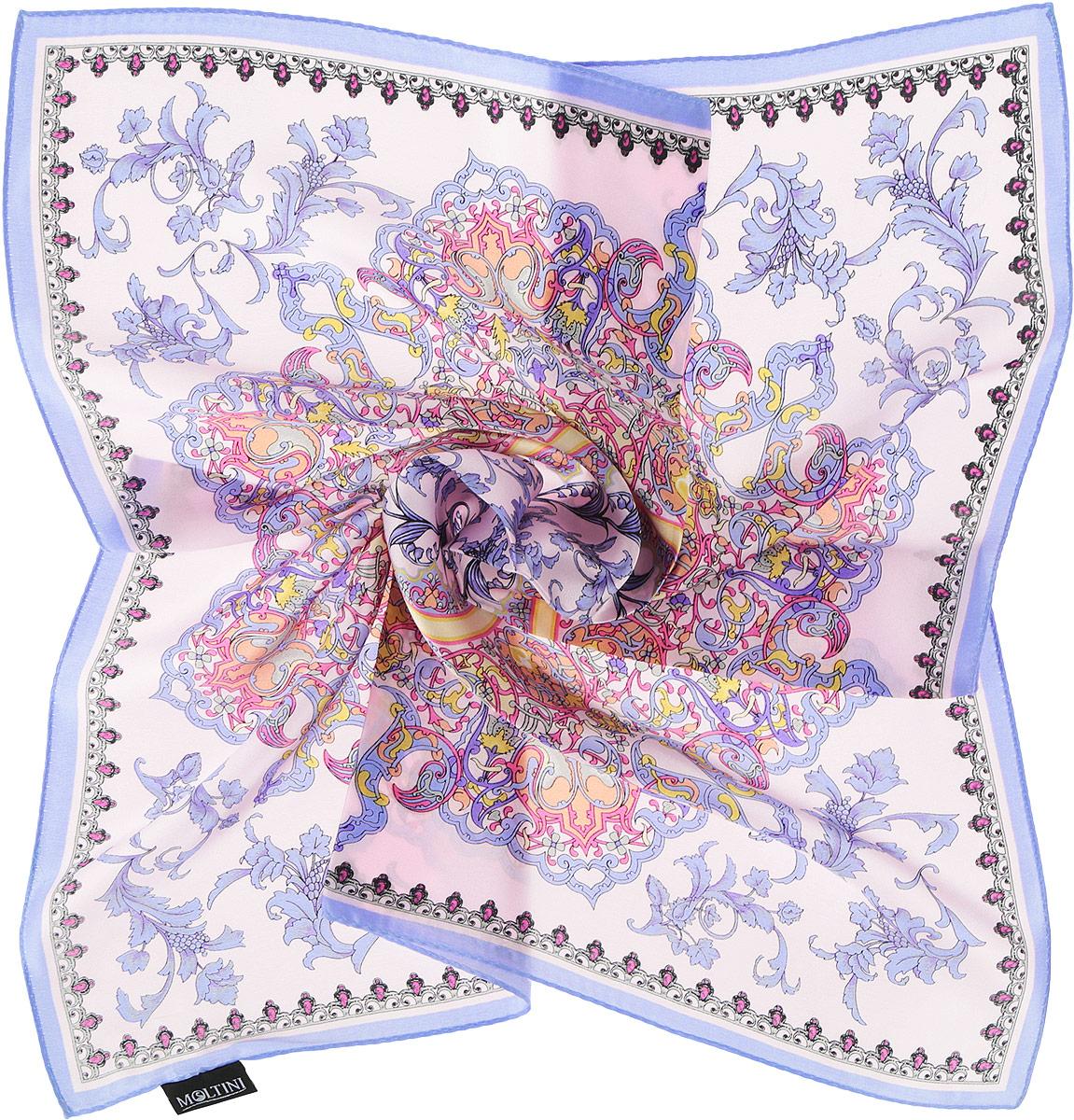 Платок женский Moltini, цвет: сиреневый, нежно-розовый. 216119-1M. Размер 55 см х 55 см216119-1MИзумительный женский платок Moltini хочется носить бесконечно, что вполне реально благодаря высокому качеству. Данный аксессуар может стать изюминкой практически любого наряда. Модель изготовлена из шелка, благодаря чему полотно тонкое и легкое. Платок оформлен потрясающими узором и цветовой гаммой.Платок Moltini станет вашим верным спутником, а окружающие обязательно будут обращать свое восторженное внимание на вас.