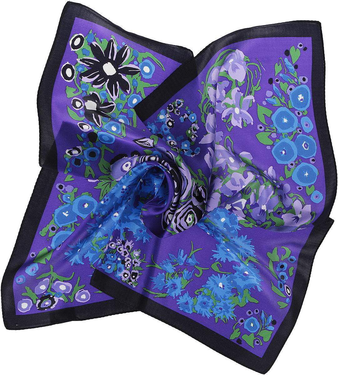 Платок женский Moltini, цвет: фиолетовый, синий, черный. 216120-1G. Размер 55 см х 55 см216120-1GПлаток Moltini станет изысканным аксессуаром, который призван подчеркнуть индивидуальность и очарование женщины. Платок выполнен из 100% шелка и оформлен прекрасным цветочным принтом.Этот модный аксессуар женского гардероба гармонично дополнит образ современной женщины, следящей за своим имиджем и стремящейся всегда оставаться стильной и элегантной.