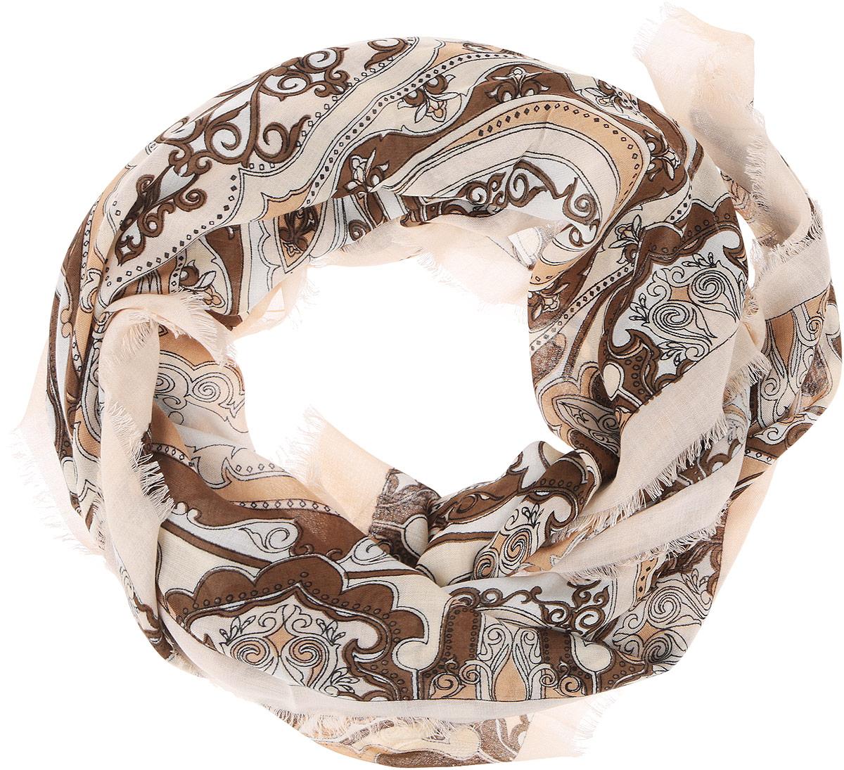 Платок женский Fabretti, цвет: коричневый, бежевый. DS2015-004-15. Размер 111 см х 111 смDS2015-004-15Стильный женский платок Fabretti станет великолепным завершением любого наряда. Платок изготовлен из высококачественного модала с добавлением вискозы, оформлен сложным растительным орнаментом и украшен тонкой бахромой по краям. Классическая квадратная форма позволяет носить платок на шее, украшать им прическу или декорировать сумочку. Мягкий и шелковистый платок поможет вам создать изысканный женственный образ, а также согреет в непогоду. Такой платок превосходно дополнит любой наряд и подчеркнет ваш неповторимый вкус и элегантность.
