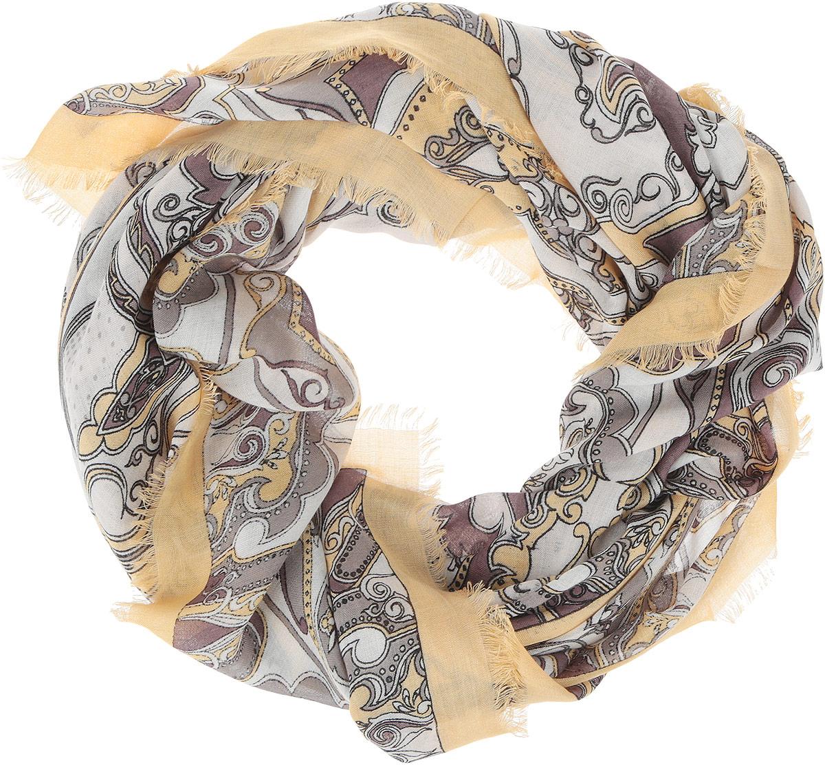 Платок женский Fabretti, цвет: песочный, коричневый. DS2015-004-6. Размер 111 см х 111 смDS2015-004-6Стильный женский платок Fabretti станет великолепным завершением любого наряда. Платок изготовлен из высококачественного модала с добавлением вискозы, оформлен сложным растительным орнаментом и украшен тонкой бахромой по краям. Классическая квадратная форма позволяет носить платок на шее, украшать им прическу или декорировать сумочку. Мягкий и шелковистый платок поможет вам создать изысканный женственный образ, а также согреет в непогоду. Такой платок превосходно дополнит любой наряд и подчеркнет ваш неповторимый вкус и элегантность.