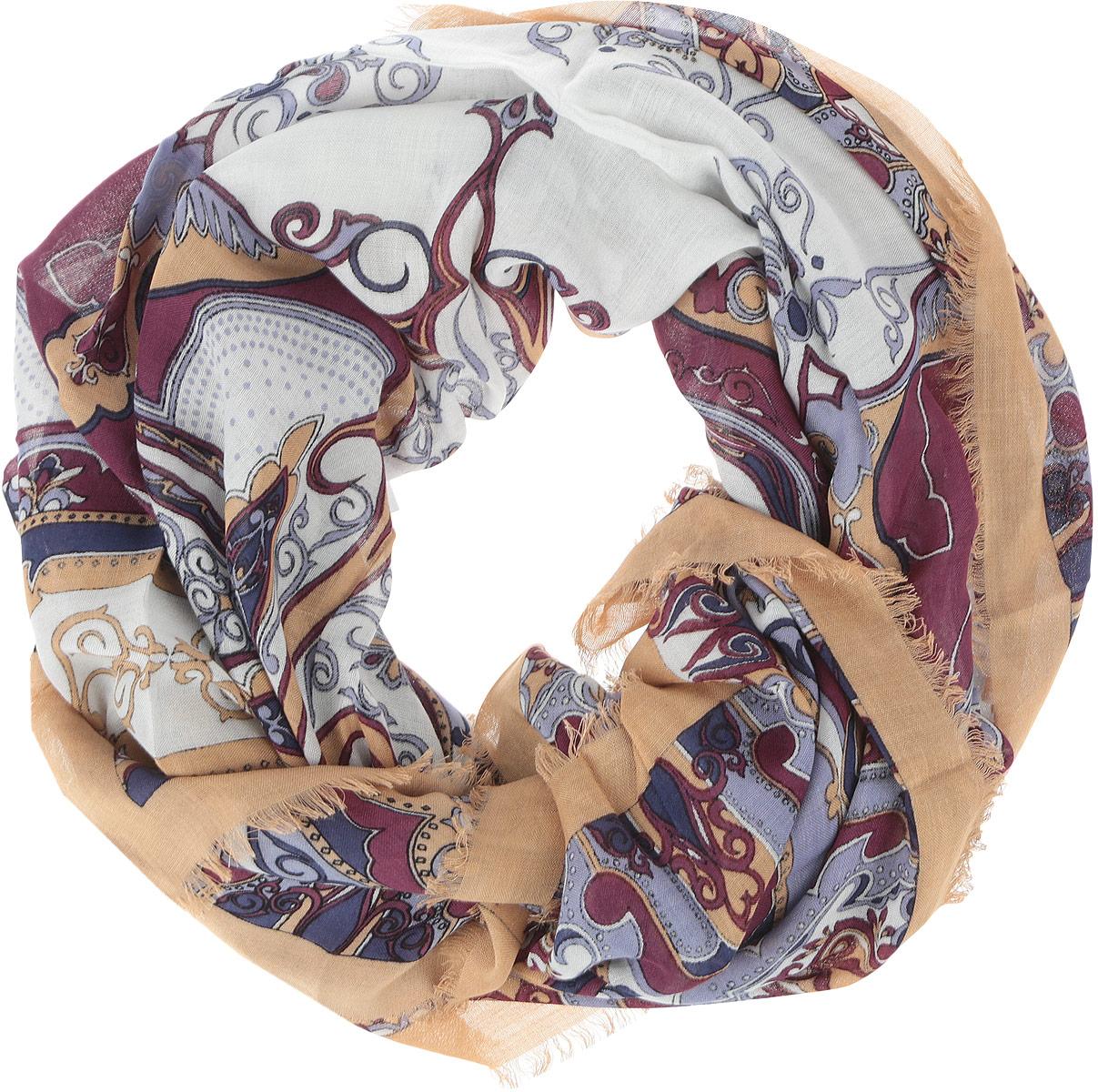 Платок женский Fabretti, цвет: бежевый, белый, сливовый. DS2015-004-11. Размер 111 см х 111 смDS2015-004-11Стильный женский платок Fabretti станет великолепным завершением любого наряда. Платок изготовлен из высококачественного модала с добавлением вискозы, оформлен сложным растительным орнаментом и украшен тонкой бахромой по краям. Классическая квадратная форма позволяет носить платок на шее, украшать им прическу или декорировать сумочку. Мягкий и шелковистый платок поможет вам создать изысканный женственный образ, а также согреет в непогоду. Такой платок превосходно дополнит любой наряд и подчеркнет ваш неповторимый вкус и элегантность.