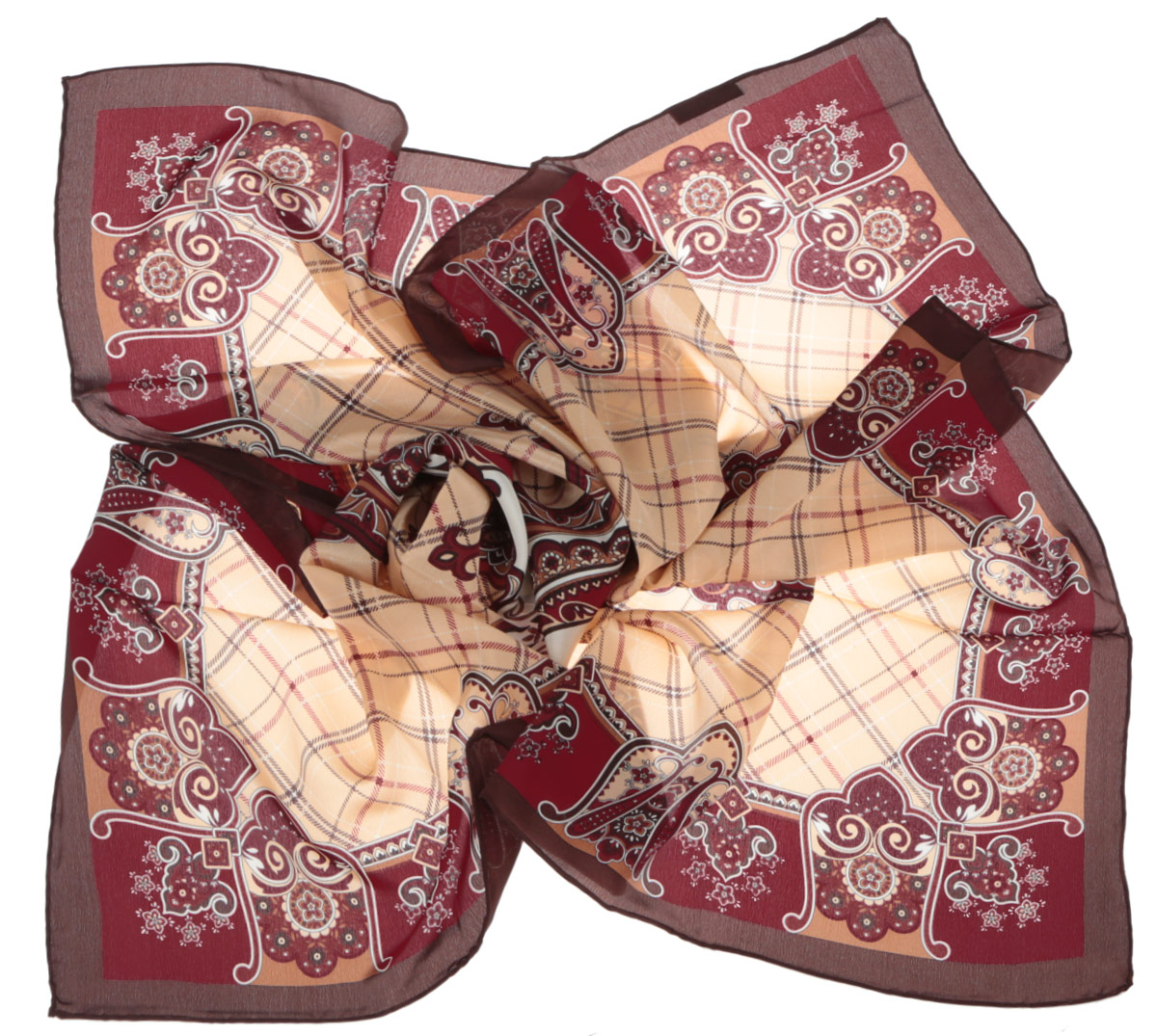 Платок женский Leo Ventoni, цвет: бордовый, бежевый. CX1516-50-8. Размер 90 см х 90 смCX1516-50-8Стильный женский платок Leo Ventoni станет великолепным завершением любого наряда. Платок изготовлен из высококачественного шелка и оформлен принтом в клетку, дополненным оригинальным орнаментом. Классическая квадратная форма позволяет носить платок на шее, украшать им прическу или декорировать сумочку. Мягкий и шелковистый платок поможет вам создать изысканный женственный образ, а также согреет в непогоду. Такой платок превосходно дополнит любой наряд и подчеркнет ваш неповторимый вкус и элегантность.