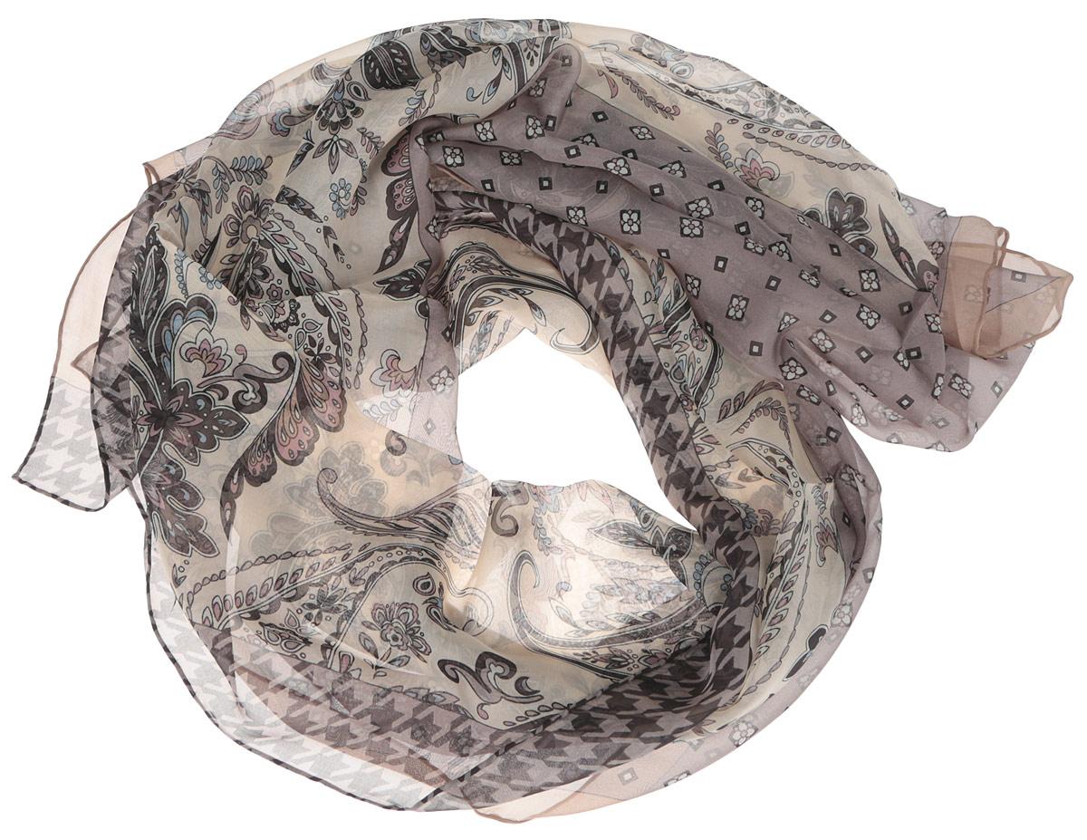 Шарф женский Fabretti, цвет: серый, коричневый, бежевый. CX1516-57-3. Размер 180 см х 65 смCX1516-57-3Стильный женский шарф Fabretti станет великолепным завершением любого наряда. Шарф изготовлен из шелка и оформлен изысканным орнаментом. Края шарфа обработаны ручным швом.Мягкий и шелковистый шарф поможет вам создать изысканный женственный образ, а также согреет в непогоду.Такой шарф превосходно дополнит любой наряд и подчеркнет ваш неповторимый вкус и элегантность.