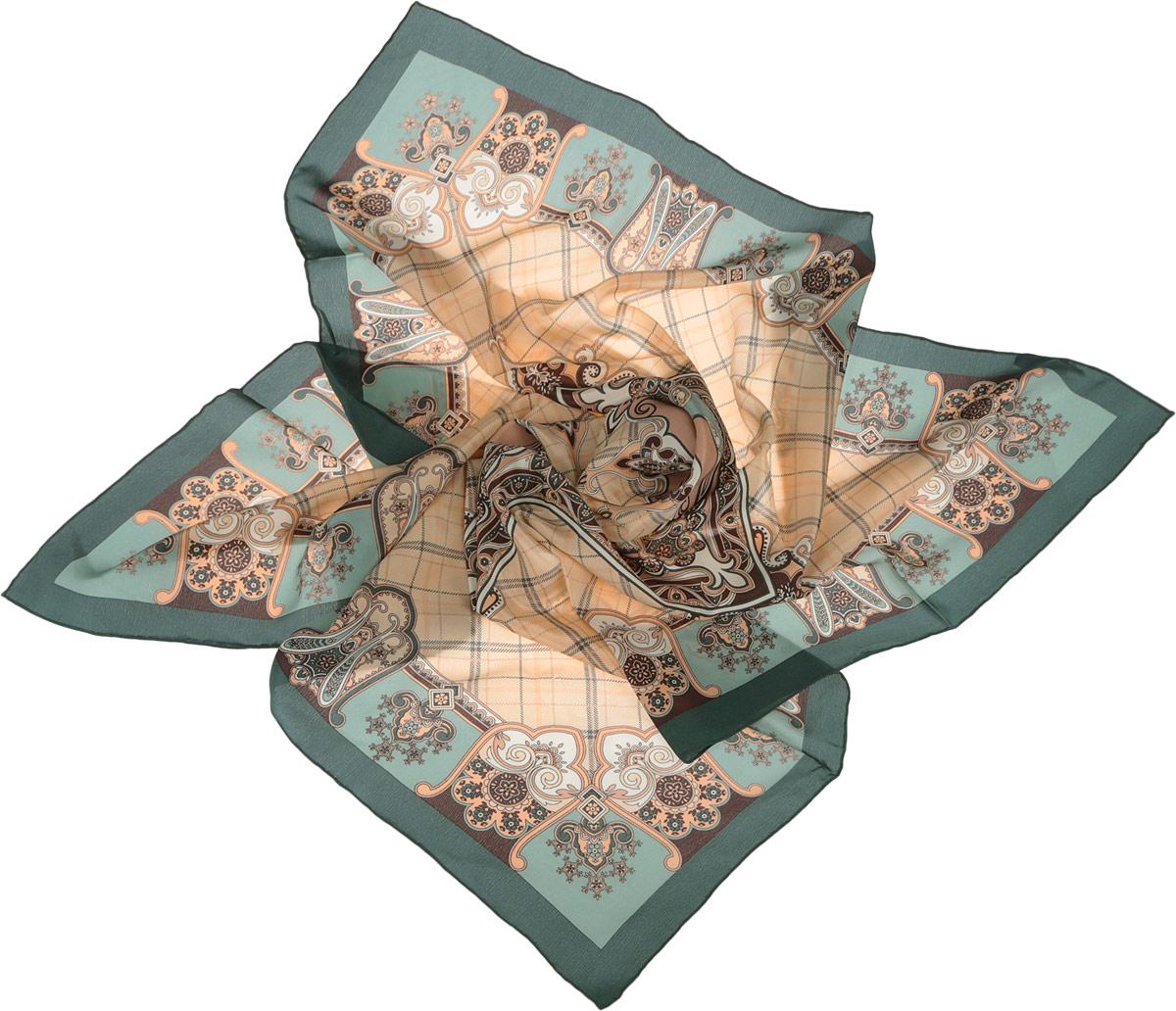 Платок женский Fabretti, цвет: зеленый, бежевый, коричневый. CX1516-50-6. Размер 90 см х 90 смCX1516-50-6Стильный женский платок Fabretti станет великолепным завершением любого наряда. Платок изготовлен из высококачественного 100% шелка и оформлен принтом в клетку и оригинальным цветочным орнаментом. Классическая квадратная форма позволяет носить платок на шее, украшать им прическу или декорировать сумочку. Мягкий и шелковистый платок поможет вам создать изысканный женственный образ, а также согреет в непогоду. Такой платок превосходно дополнит любой наряд и подчеркнет ваш неповторимый вкус и элегантность.