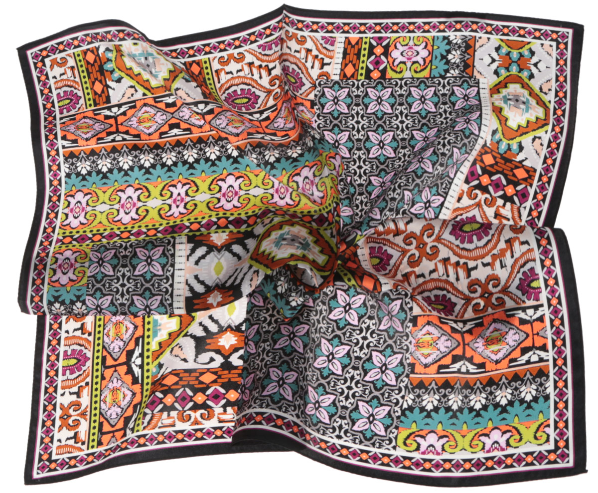 Платок женский Fabretti, цвет: черный, оранжевый, салатовый. CX1516-66-11. Размер 53 см х 53 смCX1516-66-11Стильный женский платок Fabretti станет великолепным завершением любого наряда. Платок изготовлен из высококачественного шелка и оформлен сложным красочным орнаментом. Классическая квадратная форма позволяет носить платок на шее, украшать им прическу или декорировать сумочку. Мягкий и шелковистый платок поможет вам создать изысканный женственный образ, а также согреет в непогоду. Такой платок превосходно дополнит любой наряд и подчеркнет ваш неповторимый вкус и элегантность.