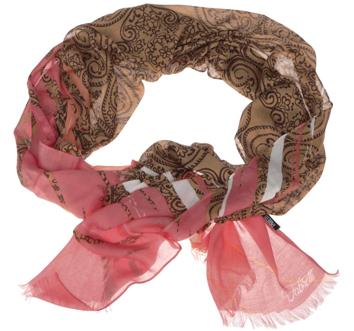 Шарф женский Fabretti, цвет: коричневый, розовый. DS2015-001-1. Размер 184 см х 70 смDS2015-001-1Модный женский шарф Fabretti подарит вам уют и станет стильным аксессуаром, который призван подчеркнуть вашу индивидуальность и женственность. Тонкий шарф выполнен из высококачественного модала с добавлением вискозы, он невероятно мягкий и приятный на ощупь. Шарф оформлен принтом с оригинальным цветочным орнаментом.Этот модный аксессуар гармонично дополнит образ современной женщины, следящей за своим имиджем и стремящейся всегда оставаться стильной и элегантной. Такой шарф украсит любой наряд и согреет вас в непогоду, с ним вы всегда будете выглядеть изысканно и оригинально.