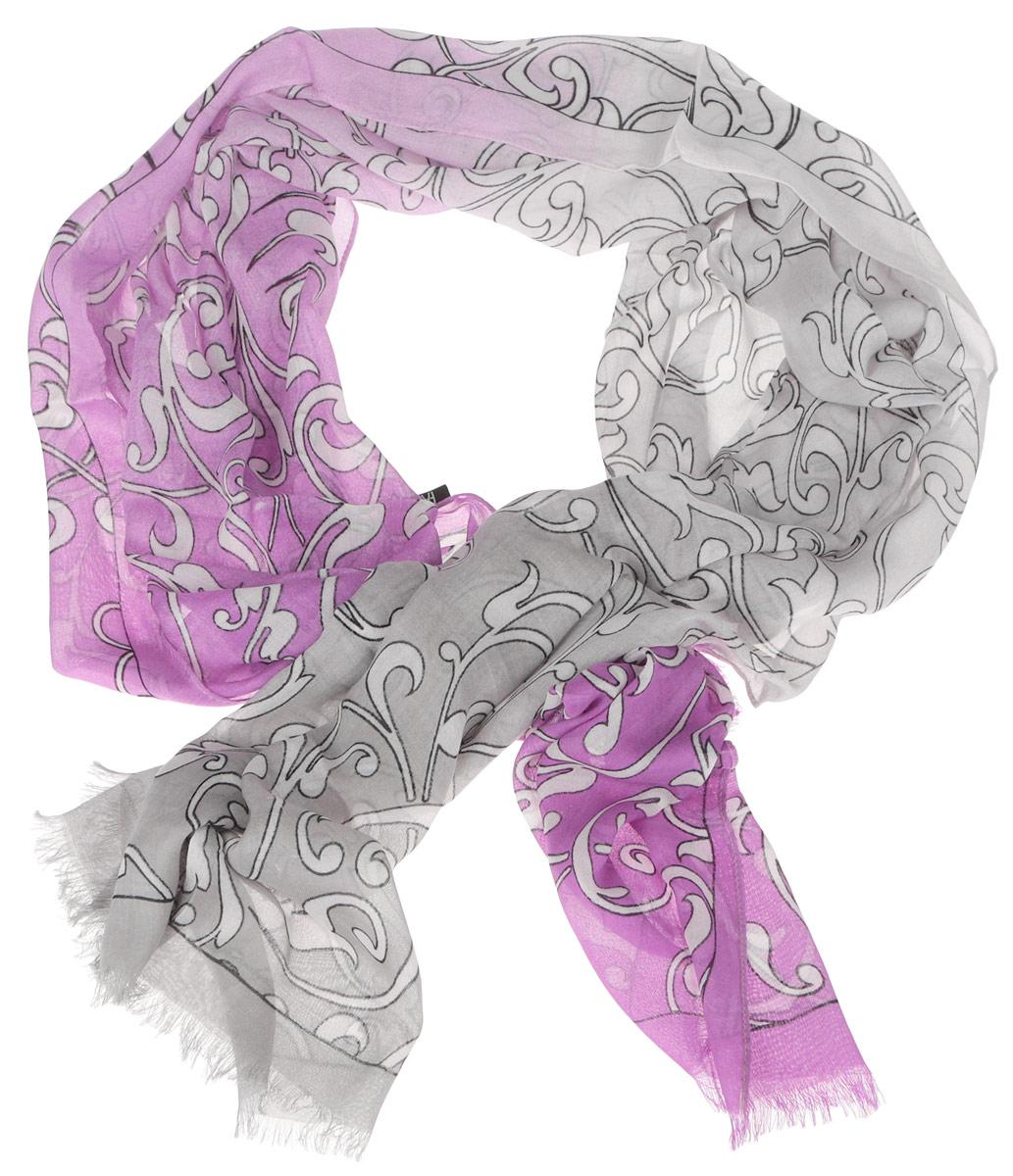 Шарф женский Fabretti, цвет: серый, лиловый. DS2015-002-6. Размер 184 см х 70 смDS2015-002-6Женский шарф Fabretti позволит вам создать неповторимый и запоминающийся образ. Изготовленный из высококачественных материалов, он очень легкий, мягкий, имеет приятную на ощупь текстуру. Модель оформлена изысканным узором, украшена по краям короткими кисточками. Такой аксессуар станет стильным дополнением к гардеробу современной женщины, стремящейся всегда оставаться яркой и элегантной.