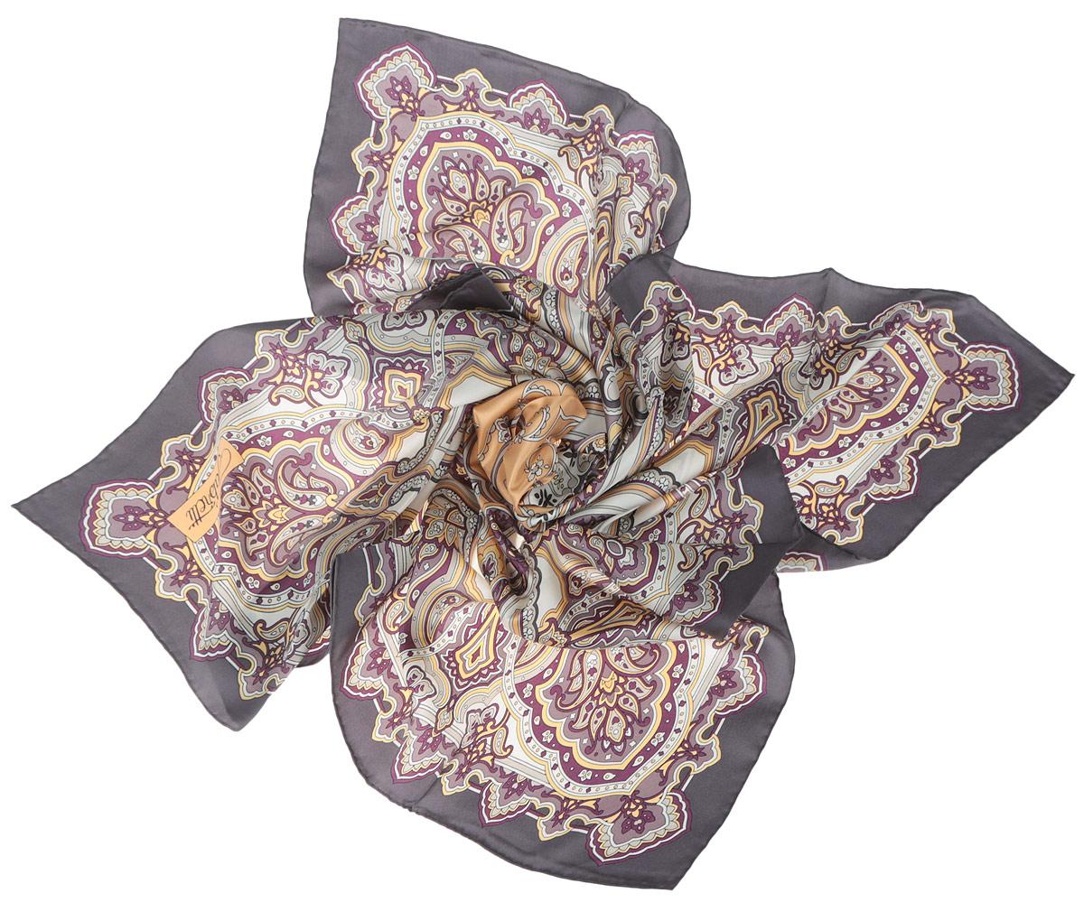 Платок женский Fabretti, цвет: тауп, сливовый, желтый. CX1516-46-1. Размер 90 см х 90 смCX1516-46-1Стильный женский платок Fabretti станет великолепным завершением любого наряда. Платок изготовлен из высококачественного 100% шелка и оформлен оригинальным принтом с цветочным орнаментом в восточном стиле.Классическая квадратная форма позволяет носить платок на шее, украшать им прическу или декорировать сумочку. Мягкий и шелковистый платок поможет вам создать изысканный женственный образ, а также согреет в непогоду. Такой платок превосходно дополнит любой наряд и подчеркнет ваш неповторимый вкус и элегантность.