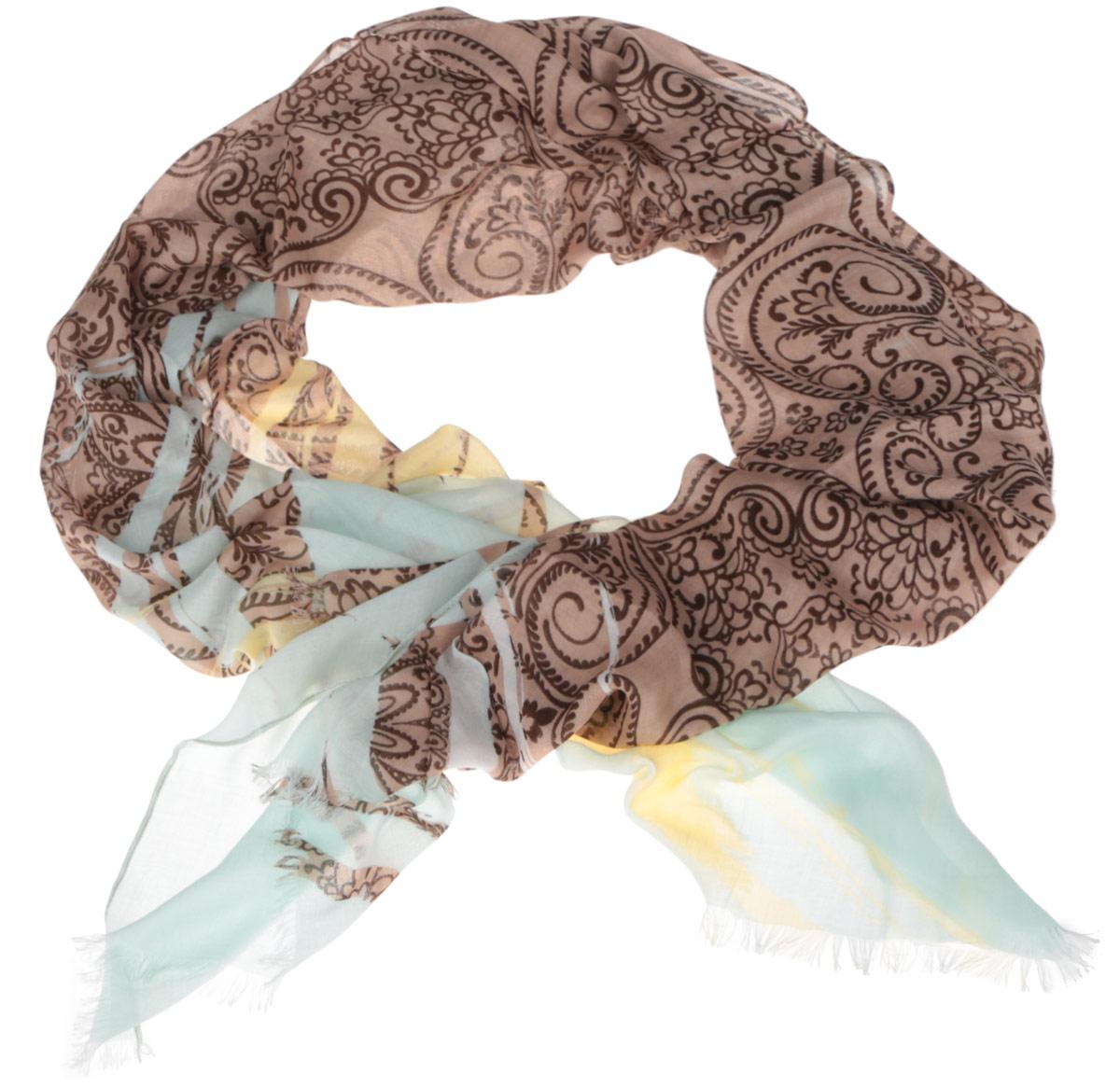 Шарф женский Fabretti, цвет: коричневый, светло-голубой, желтый. DS2015-001-2. Размер 184 см х 70 смDS2015-001-2Модный женский шарф Fabretti подарит вам уют и станет стильным аксессуаром, который призван подчеркнуть вашу индивидуальность и женственность. Тонкий шарф выполнен из высококачественного модала с добавлением вискозы, он невероятно мягкий и приятный на ощупь. Шарф оформлен принтом с оригинальным цветочным орнаментом.Этот модный аксессуар гармонично дополнит образ современной женщины, следящей за своим имиджем и стремящейся всегда оставаться стильной и элегантной. Такой шарф украсит любой наряд и согреет вас в непогоду, с ним вы всегда будете выглядеть изысканно и оригинально.