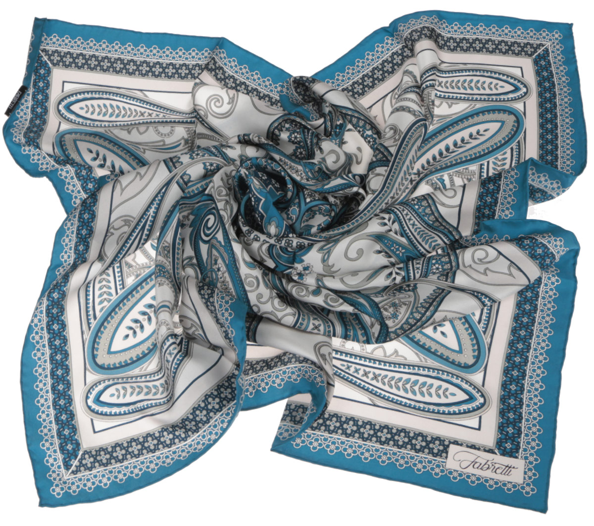 Платок женский Fabretti, цвет: бирюзовый, белый. CX1516-52-5. Размер 90 см х 90 смCX1516-52-5Стильный женский платок Fabretti станет великолепным завершением любого наряда. Платок изготовлен из высококачественного 100% шелка и оформлен изысканным этническим принтом в индийском стиле.Классическая квадратная форма позволяет носить платок на шее, украшать им прическу или декорировать сумочку. Мягкий и шелковистый платок поможет вам создать изысканный женственный образ, а также согреет в непогоду. Такой платок превосходно дополнит любой наряд и подчеркнет ваш неповторимый вкус и элегантность.