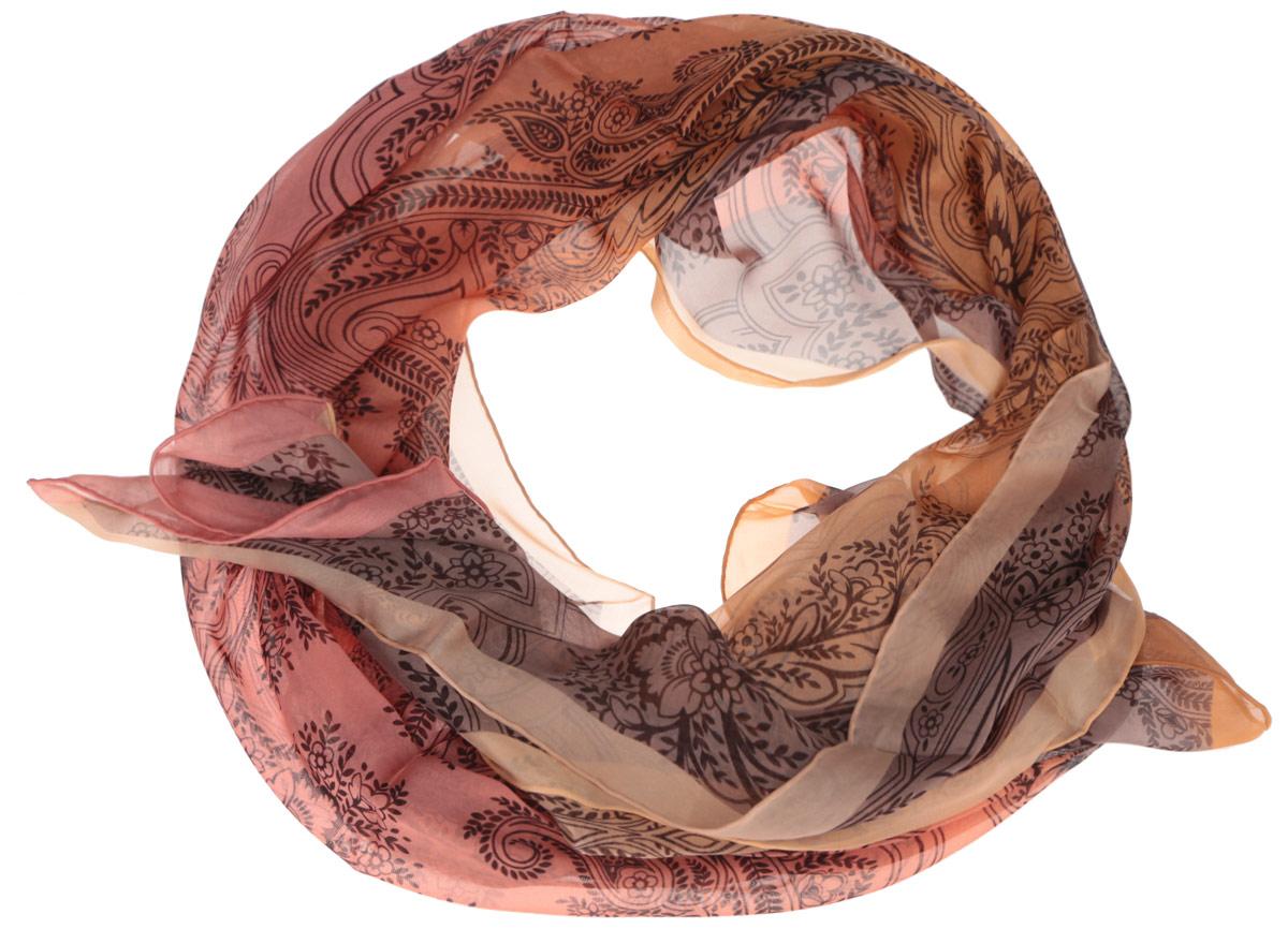 Шарф женский Fabretti, цвет: оранжевый, светло-коричневый. CX1516-56-7. Размер 180 см х 65 смCX1516-56-7Модный женский шарф Fabretti подарит вам уют и станет стильным аксессуаром, который призван подчеркнуть вашу индивидуальность и женственность. Тонкий шарф выполнен из высококачественного шелка, он невероятно мягкий и приятный на ощупь. Шарф оформлен изысканным цветочным принтом.Этот модный аксессуар гармонично дополнит образ современной женщины, следящей за своим имиджем и стремящейся всегда оставаться стильной и элегантной. Такой шарф украсит любой наряд и согреет вас в непогоду, с ним вы всегда будете выглядеть изысканно и оригинально.