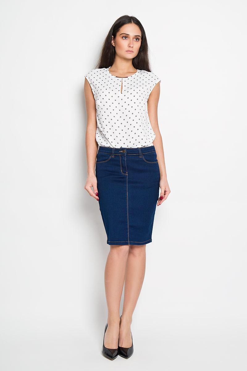 Юбка Sela, цвет: темно-синий. SKJ-138/477-6142. Размер M (46)SKJ-138/477-6142Стильная юбка Sela, выполненная из высококачественного комбинированного материала, подчеркнет вашу женственность и неповторимый стиль.Классическая джинсовая юбка застегивается спереди на пуговицу в поясе и ширинку на молнии, имеются шлевки для ремня. Изделие оформлено контрастной отстрочкой. Спереди модель дополнена двумя втачными карманами, сзади - двумя накладными карманами. Модная юбка-миди выгодно освежит и разнообразит ваш гардероб. Создайте женственный образ и подчеркните свою яркую индивидуальность!