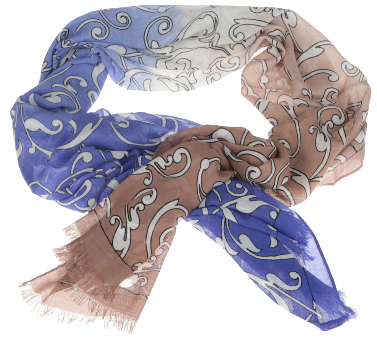 Шарф женский Fabretti, цвет: темно-синий, коричневый. DS2015-002-15. Размер 184 см х 70 смDS2015-002-15Женский шарф Fabretti позволит вам создать неповторимый и запоминающийся образ. Изготовленный из высококачественных материалов, он очень легкий, мягкий, имеет приятную на ощупь текстуру. Модель оформлена изысканным узором, украшена по краям короткими кисточками. Такой аксессуар станет стильным дополнением к гардеробу современной женщины, стремящейся всегда оставаться яркой и элегантной.