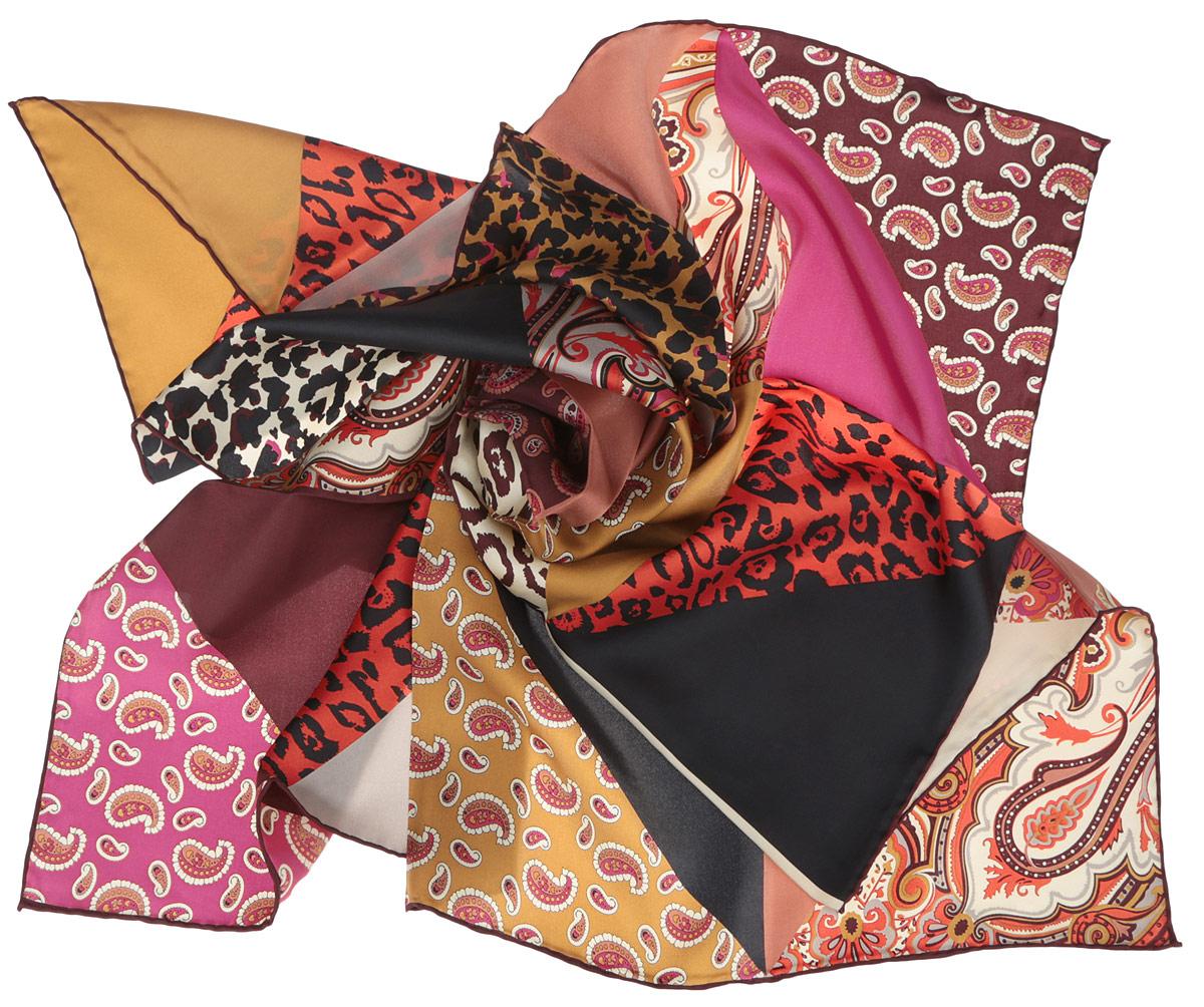 Платок женский Fabretti, цвет: сливовый, красный, розовый. CX1516-68-12. Размер 90 см х 90 смCX1516-68-12Стильный женский платок Fabretti станет великолепным завершением любого наряда. Платок изготовлен из высококачественного 100% шелка и оформлен оригинальным принтом с разнообразными орнаментами.Классическая квадратная форма позволяет носить платок на шее, украшать им прическу или декорировать сумочку. Мягкий и шелковистый платок поможет вам создать изысканный женственный образ, а также согреет в непогоду. Такой платок превосходно дополнит любой наряд и подчеркнет ваш неповторимый вкус и элегантность.