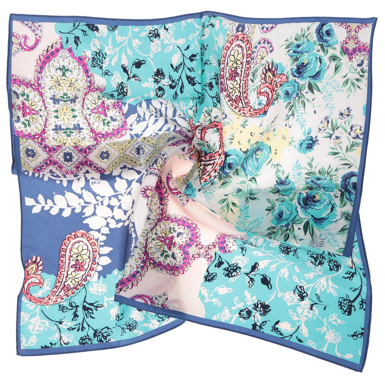 Платок женский Fabretti, цвет: синий, голубой, розовый. CX1516-65-8. Размер 53 см х 53 смCX1516-65-8Стильный женский платок Fabretti станет великолепным завершением любого наряда. Платок изготовлен из высококачественного шелка и оформлен изысканным цветочным орнаментом. Классическая квадратная форма позволяет носить платок на шее, украшать им прическу или декорировать сумочку. Мягкий и шелковистый платок поможет вам создать изысканный женственный образ, а также согреет в непогоду. Такой платок превосходно дополнит любой наряд и подчеркнет ваш неповторимый вкус и элегантность.