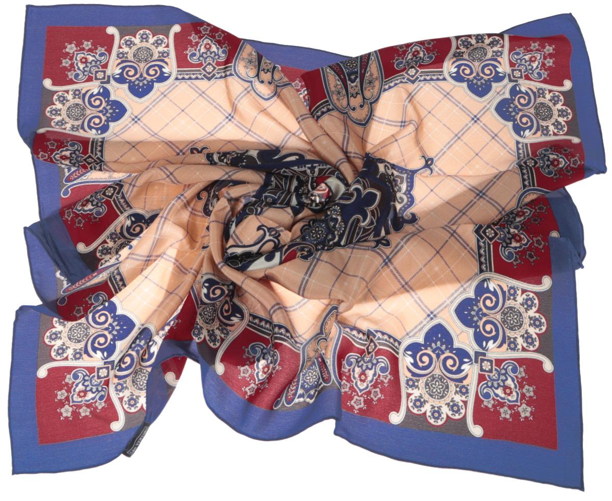 Платок женский Fabretti, цвет: синий, бордовый, светло-коричневый. CX1516-50-9. Размер 90 см х 90 смCX1516-50-9Стильный женский платок Fabretti станет великолепным завершением любого наряда. Платок изготовлен из высококачественного 100% шелка и оформлен принтом в клетку и оригинальным цветочным орнаментом. Классическая квадратная форма позволяет носить платок на шее, украшать им прическу или декорировать сумочку. Мягкий и шелковистый платок поможет вам создать изысканный женственный образ, а также согреет в непогоду. Такой платок превосходно дополнит любой наряд и подчеркнет ваш неповторимый вкус и элегантность.