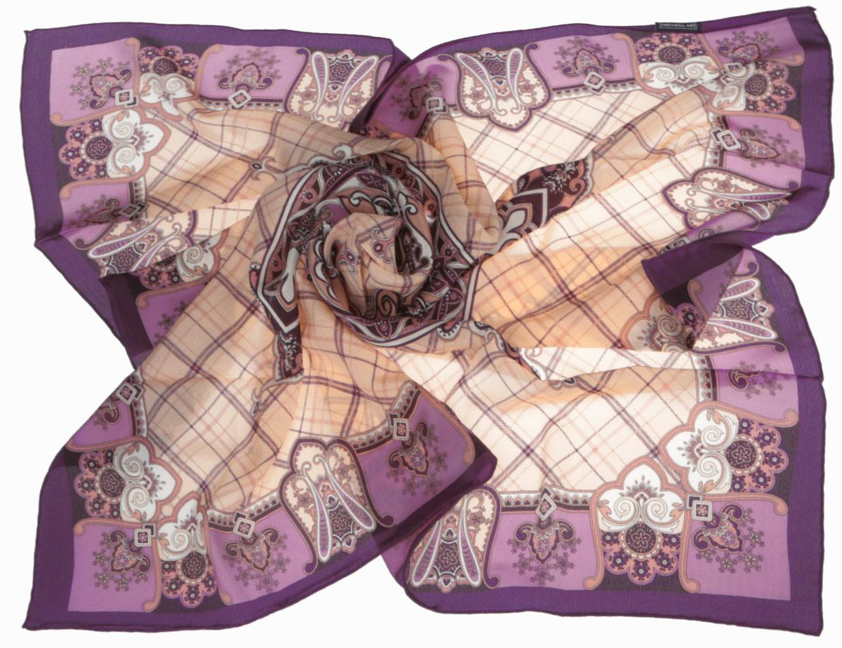 Платок женский Leo Ventoni, цвет: фиолетовый, бежевый. CX1516-50-1. Размер 90 см х 90 смCX1516-50-1Стильный женский платок Leo Ventoni станет великолепным завершением любого наряда. Платок изготовлен из высококачественного шелка и оформлен принтом в клетку, дополненным оригинальным орнаментом. Классическая квадратная форма позволяет носить платок на шее, украшать им прическу или декорировать сумочку. Мягкий и шелковистый платок поможет вам создать изысканный женственный образ, а также согреет в непогоду. Такой платок превосходно дополнит любой наряд и подчеркнет ваш неповторимый вкус и элегантность.