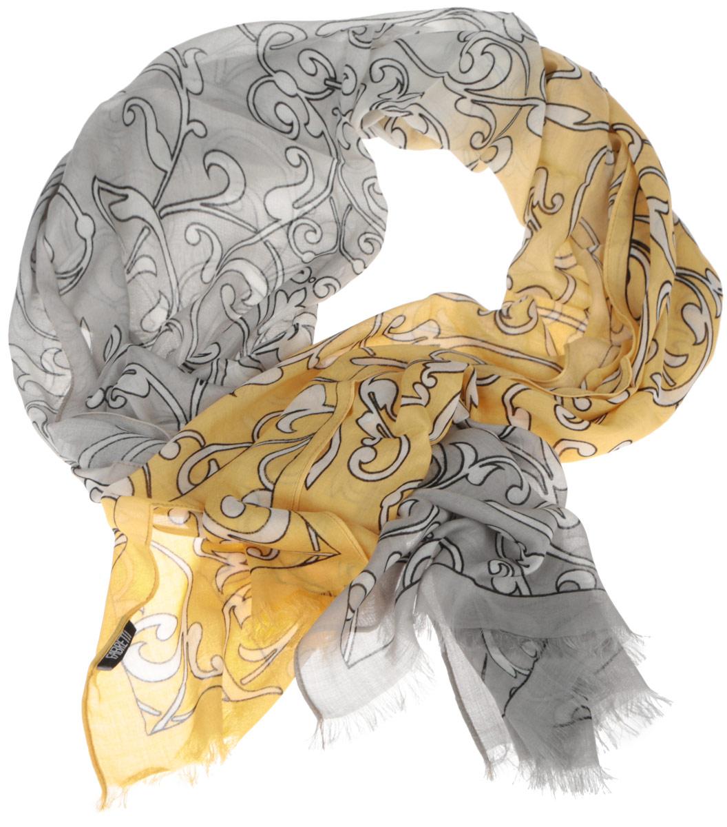 Шарф женский Fabretti, цвет: серый, желтый. DS2015-002-21. Размер 184 см х 70 смDS2015-002-21Женский шарф Fabretti позволит вам создать неповторимый и запоминающийся образ. Изготовленный из высококачественных материалов, он очень легкий, мягкий, имеет приятную на ощупь текстуру. Модель оформлена изысканным узором, украшена по краям короткими кисточками. Такой аксессуар станет стильным дополнением к гардеробу современной женщины, стремящейся всегда оставаться яркой и элегантной.