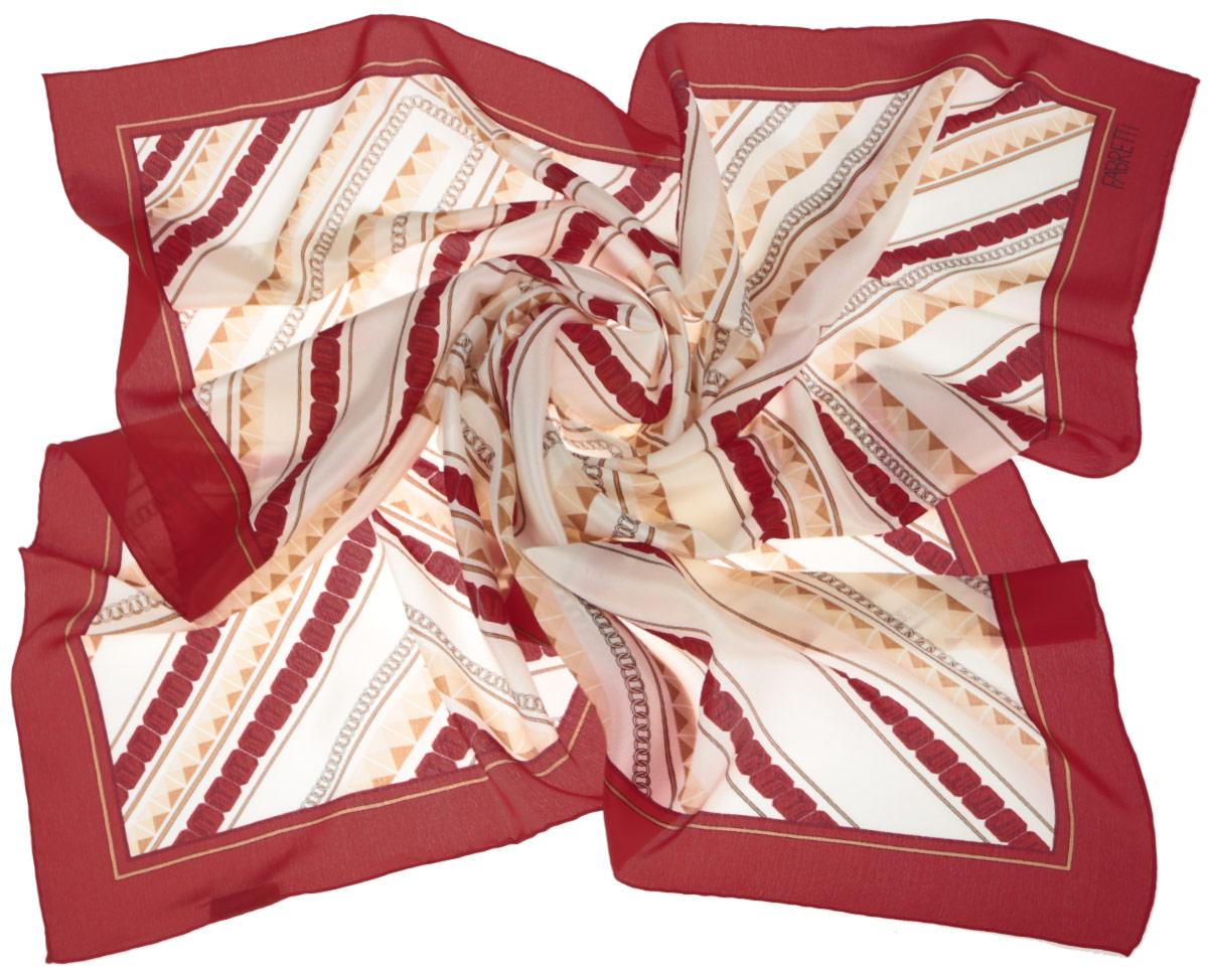 Платок женский Fabretti, цвет: красный, бежевый. CX1516-51-6. Размер 90 см х 90 смCX1516-51-6Стильный женский платок Fabretti станет великолепным завершением любого наряда. Платок изготовлен из высококачественного 100% шелка и оформлен оригинальным геометрическим принтом.Классическая квадратная форма позволяет носить платок на шее, украшать им прическу или декорировать сумочку. Мягкий и шелковистый платок поможет вам создать изысканный женственный образ, а также согреет в непогоду. Такой платок превосходно дополнит любой наряд и подчеркнет ваш неповторимый вкус и элегантность.