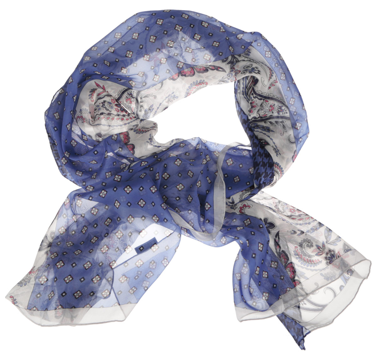 Шарф женский Fabretti, цвет: синий, белый, мультиколор. CX1516-57-5. Размер 180 см х 65 смCX1516-57-5Стильный женский шарф Fabretti станет великолепным завершением любого наряда. Шарф изготовлен из шелка и оформлен изысканным орнаментом. Края шарфа обработаны ручным швом.Мягкий и шелковистый шарф поможет вам создать изысканный женственный образ, а также согреет в непогоду.Такой шарф превосходно дополнит любой наряд и подчеркнет ваш неповторимый вкус и элегантность.