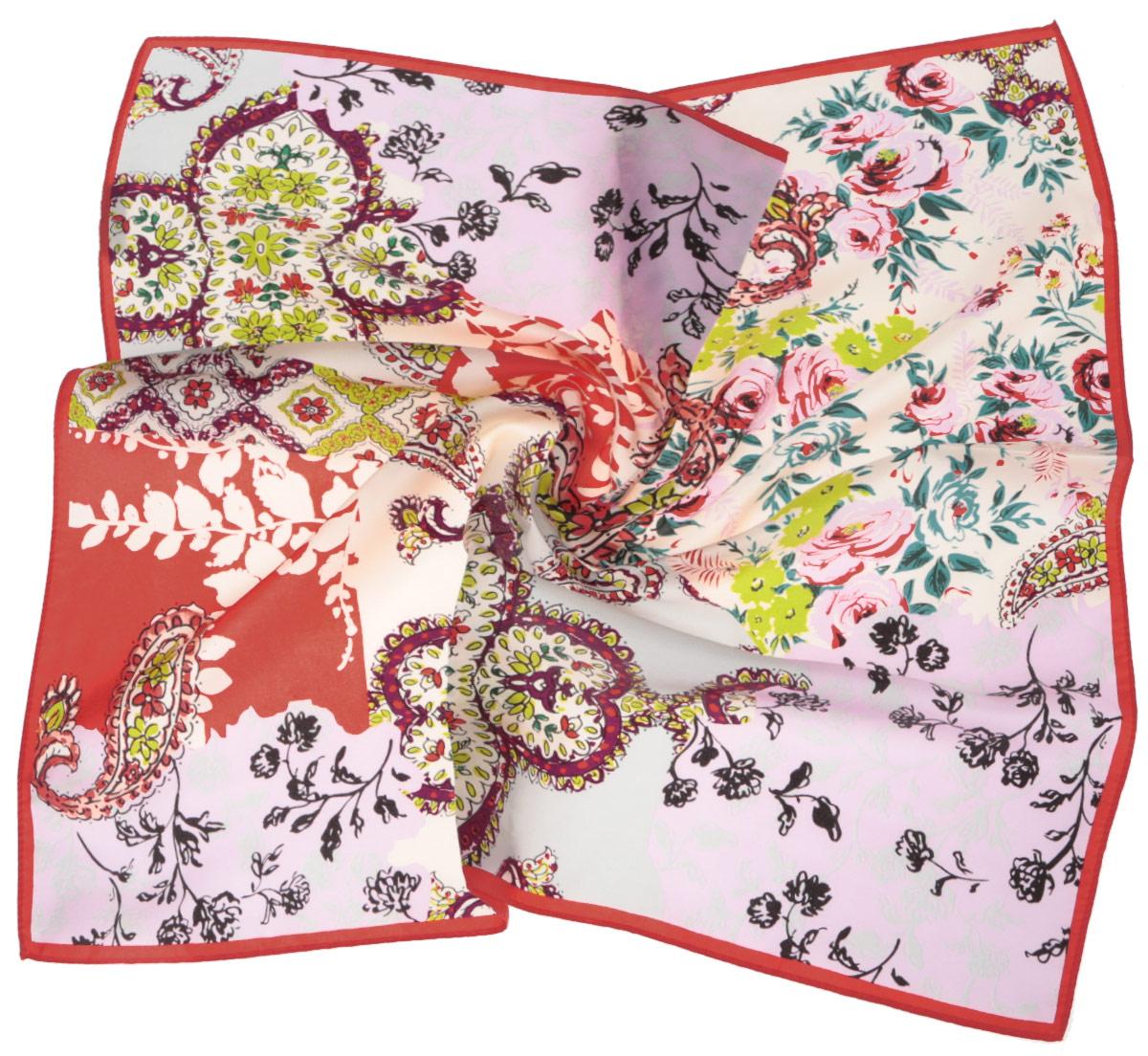 Платок женский Fabretti, цвет: бежевый, красный. CX1516-65-11. Размер 53 см х 53 смCX1516-65-11Стильный женский платок Fabretti станет великолепным завершением любого наряда. Платок изготовлен из высококачественного шелка и оформлен изысканным цветочным орнаментом. Классическая квадратная форма позволяет носить платок на шее, украшать им прическу или декорировать сумочку. Мягкий и шелковистый платок поможет вам создать изысканный женственный образ, а также согреет в непогоду. Такой платок превосходно дополнит любой наряд и подчеркнет ваш неповторимый вкус и элегантность.