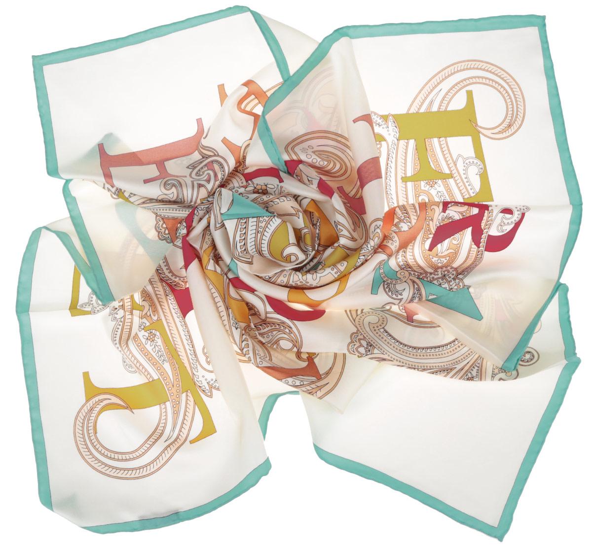 Платок женский Fabretti, цвет: молочный, желтый, бирюзовый. CX1516-44-7. Размер 90 см х 90 смCX1516-44-7Стильный женский платок Fabretti станет великолепным завершением любого наряда. Платок изготовлен из высококачественного 100% шелка и оформлен красочным принтом с буквами на фоне цветочного орнамента.Классическая квадратная форма позволяет носить платок на шее, украшать им прическу или декорировать сумочку. Мягкий и шелковистый платок поможет вам создать изысканный женственный образ, а также согреет в непогоду. Такой платок превосходно дополнит любой наряд и подчеркнет ваш неповторимый вкус и элегантность.
