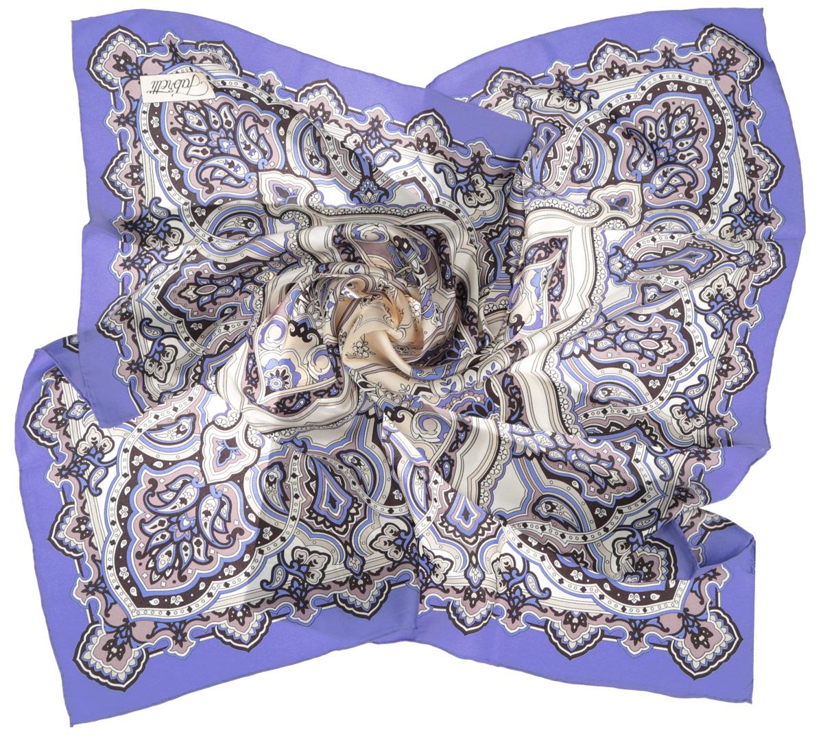 Платок женский Fabretti, цвет: синий, молочный. CX1516-46-2. Размер 90 см х 90 смCX1516-46-2Стильный женский платок Fabretti станет великолепным завершением любого наряда. Платок изготовлен из высококачественного 100% шелка и оформлен оригинальным принтом с цветочным орнаментом в восточном стиле.Классическая квадратная форма позволяет носить платок на шее, украшать им прическу или декорировать сумочку. Мягкий и шелковистый платок поможет вам создать изысканный женственный образ, а также согреет в непогоду. Такой платок превосходно дополнит любой наряд и подчеркнет ваш неповторимый вкус и элегантность.
