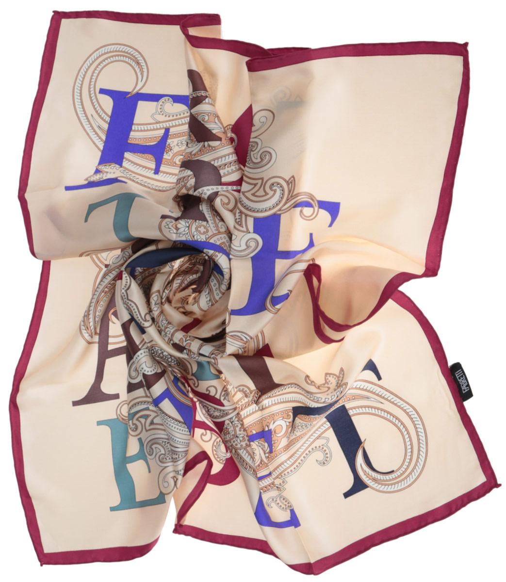 Платок женский Fabretti, цвет: бордовый, бежевый, синий. CX1516-44-1. Размер 90 см х 90 смCX1516-44-1Стильный женский платок Fabretti станет великолепным завершением любого наряда. Платок изготовлен из высококачественного 100% шелка и оформлен красочным принтом с буквами на фоне цветочного орнамента.Классическая квадратная форма позволяет носить платок на шее, украшать им прическу или декорировать сумочку. Мягкий и шелковистый платок поможет вам создать изысканный женственный образ, а также согреет в непогоду. Такой платок превосходно дополнит любой наряд и подчеркнет ваш неповторимый вкус и элегантность.