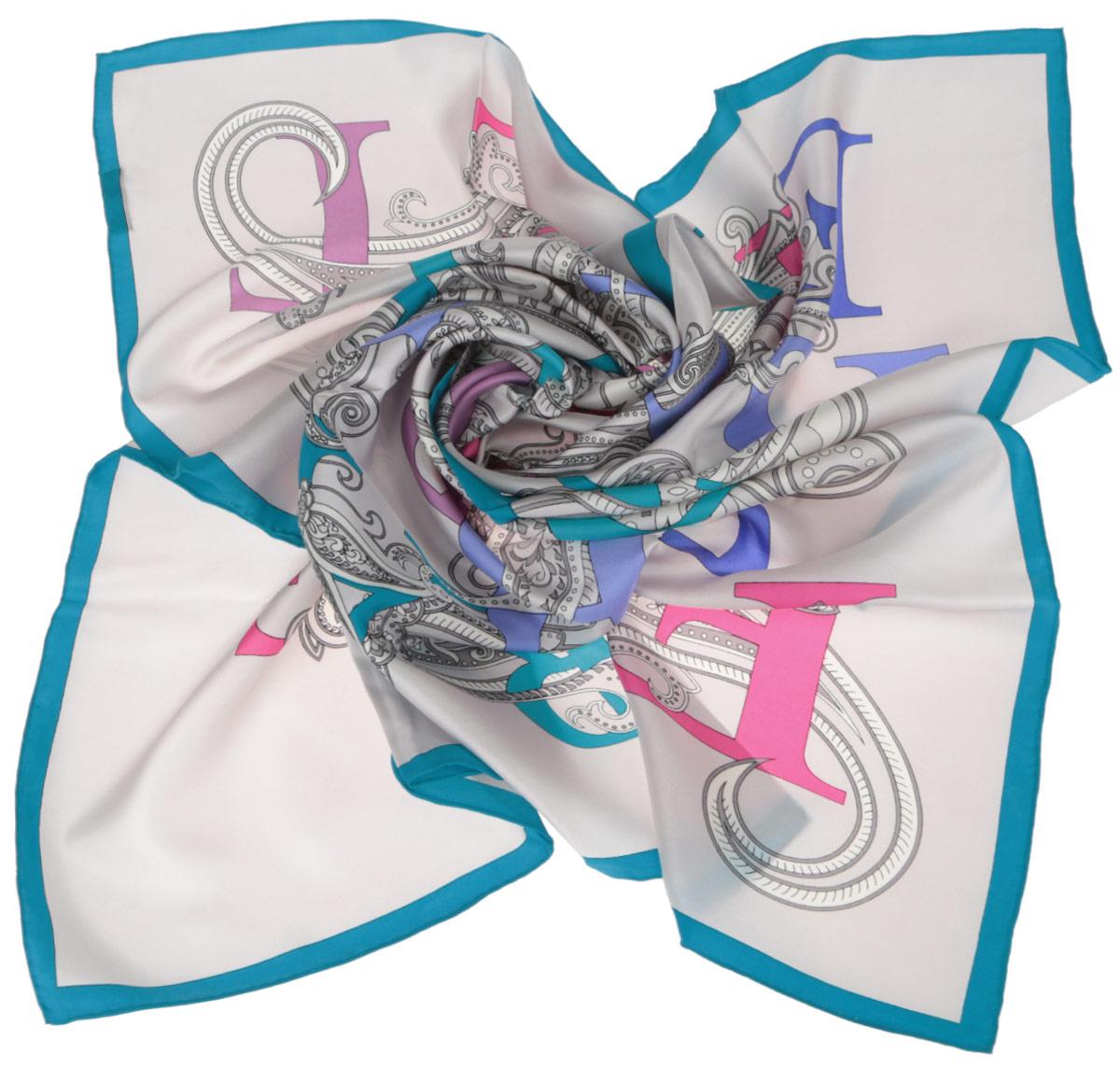 Платок женский Fabretti, цвет: молочный, лазурный, розовый. CX1516-44-8. Размер 90 см х 90 смCX1516-44-8Стильный женский платок Fabretti станет великолепным завершением любого наряда. Платок изготовлен из высококачественного 100% шелка и оформлен красочным принтом с буквами на фоне цветочного орнамента.Классическая квадратная форма позволяет носить платок на шее, украшать им прическу или декорировать сумочку. Мягкий и шелковистый платок поможет вам создать изысканный женственный образ, а также согреет в непогоду. Такой платок превосходно дополнит любой наряд и подчеркнет ваш неповторимый вкус и элегантность.