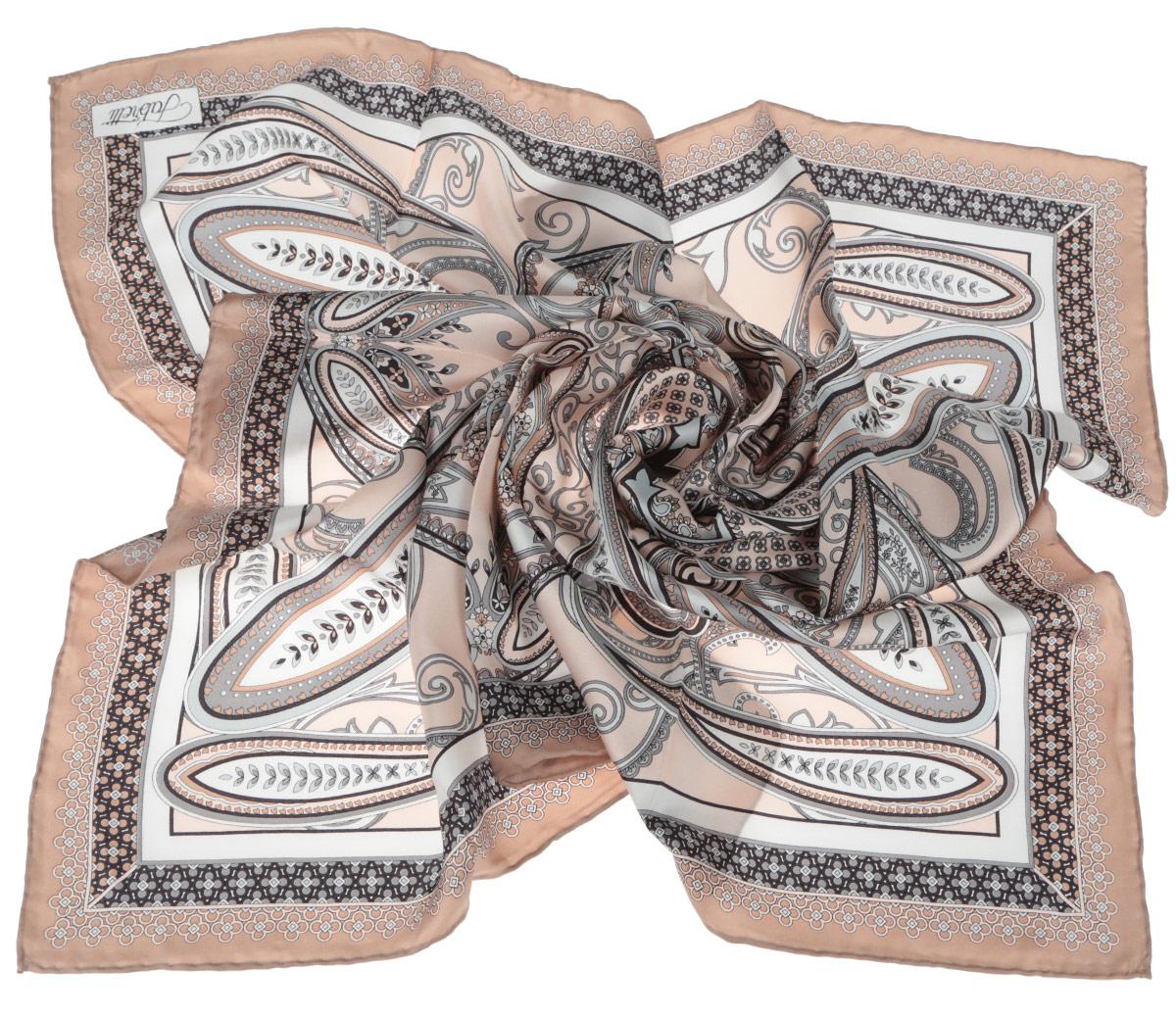 Платок женский Fabretti, цвет: бежевый, светло-коричневый. CX1516-52-8. Размер 90 см х 90 смCX1516-52-8Стильный женский платок Fabretti станет великолепным завершением любого наряда. Платок изготовлен из высококачественного 100% шелка и оформлен изысканным этническим принтом в индийском стиле.Классическая квадратная форма позволяет носить платок на шее, украшать им прическу или декорировать сумочку. Мягкий и шелковистый платок поможет вам создать изысканный женственный образ, а также согреет в непогоду. Такой платок превосходно дополнит любой наряд и подчеркнет ваш неповторимый вкус и элегантность.