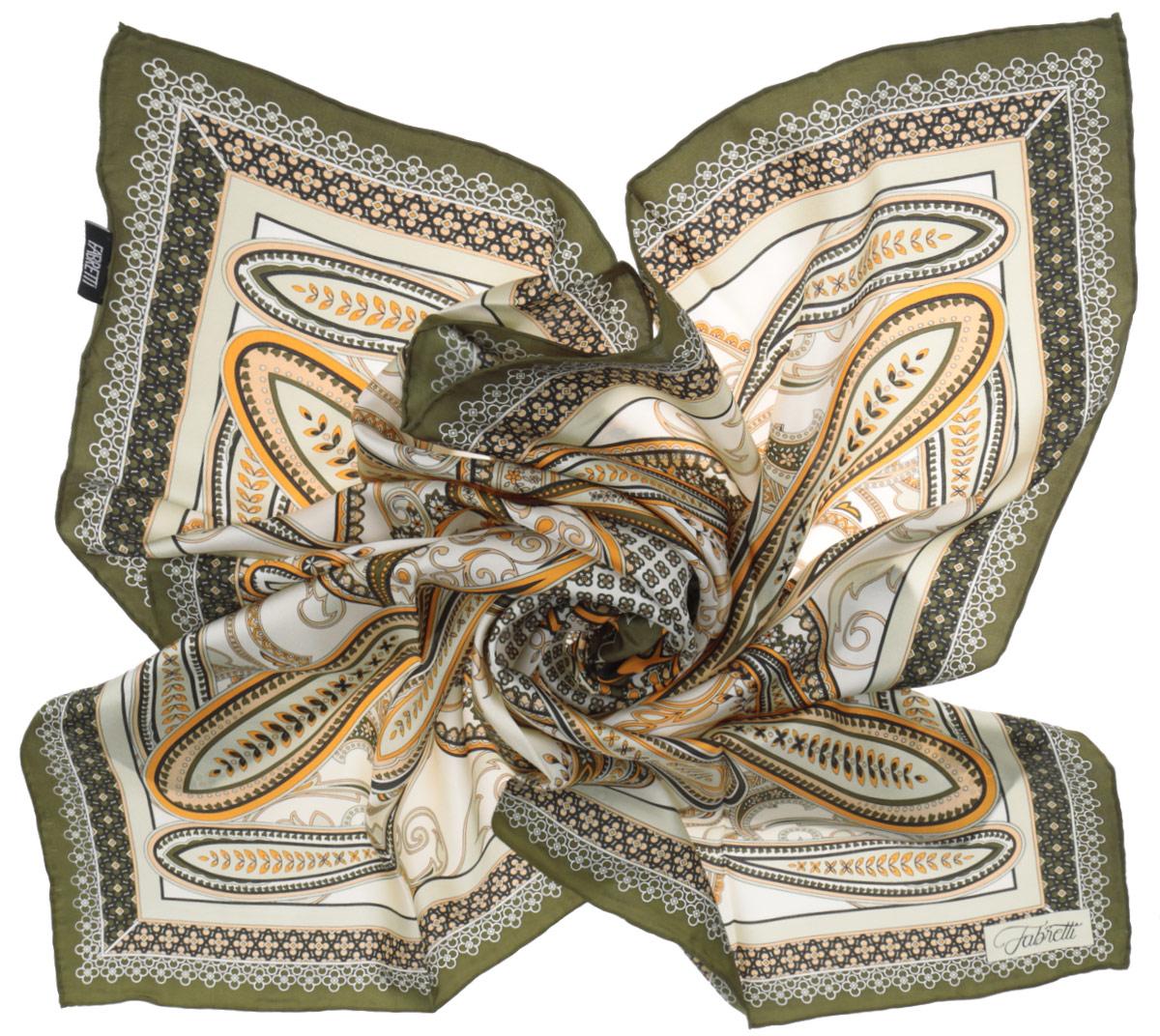 Платок женский Fabretti, цвет: хаки, молочный. CX1516-52-4. Размер 90 см х 90 смCX1516-52-4Стильный женский платок Fabretti станет великолепным завершением любого наряда. Платок изготовлен из высококачественного 100% шелка и оформлен изысканным этническим принтом в индийском стиле.Классическая квадратная форма позволяет носить платок на шее, украшать им прическу или декорировать сумочку. Мягкий и шелковистый платок поможет вам создать изысканный женственный образ, а также согреет в непогоду. Такой платок превосходно дополнит любой наряд и подчеркнет ваш неповторимый вкус и элегантность.