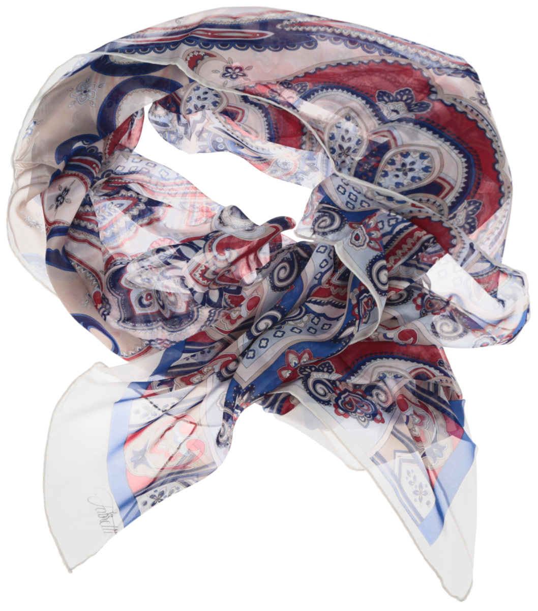 Шарф женский Fabretti, цвет: белый, синий, красный. CX1516-45-8. Размер 180 см х 65 смCX1516-45-8Модный женский шарф Fabretti подарит вам уют и станет стильным аксессуаром, который призван подчеркнуть вашу индивидуальность и женственность. Тонкий шарф выполнен из высококачественного шелка, он невероятно мягкий и приятный на ощупь. Шарф оформлен принтом с оригинальным этническим орнаментом.Этот модный аксессуар гармонично дополнит образ современной женщины, следящей за своим имиджем и стремящейся всегда оставаться стильной и элегантной. Такой шарф украсит любой наряд и согреет вас в непогоду, с ним вы всегда будете выглядеть изысканно и оригинально.