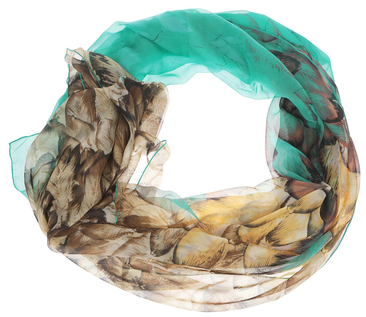 Шарф женский Fabretti, цвет: бирюзовый, коричневый, желтый. RL0055-1. Размер 180 см х 95 смRL0055-1Женский шарф Fabretti, выполненный из полиэстера с добавлением шелка, станет ярким дополнением к вашему гардеробу. Изделие легкое и воздушное, имеет приятную текстуру. Модель оформлена принтом с изображением перьев. Этот модный аксессуар гармонично дополнит образ современной женщины, следящей за своим имиджем и стремящейся всегда оставаться стильной и элегантной.