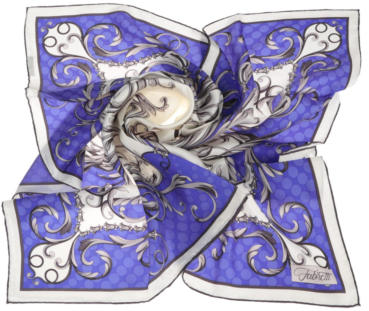 Платок женский Fabretti, цвет: синий, молочный. CX1516-49-4. Размер 90 см х 90 смCX1516-49-4Стильный женский платок Fabretti станет великолепным завершением любого наряда. Платок изготовлен из высококачественного 100% шелка и оформлен изысканным растительным орнаментом.Классическая квадратная форма позволяет носить платок на шее, украшать им прическу или декорировать сумочку. Мягкий и шелковистый платок поможет вам создать изысканный женственный образ, а также согреет в непогоду. Такой платок превосходно дополнит любой наряд и подчеркнет ваш неповторимый вкус и элегантность.